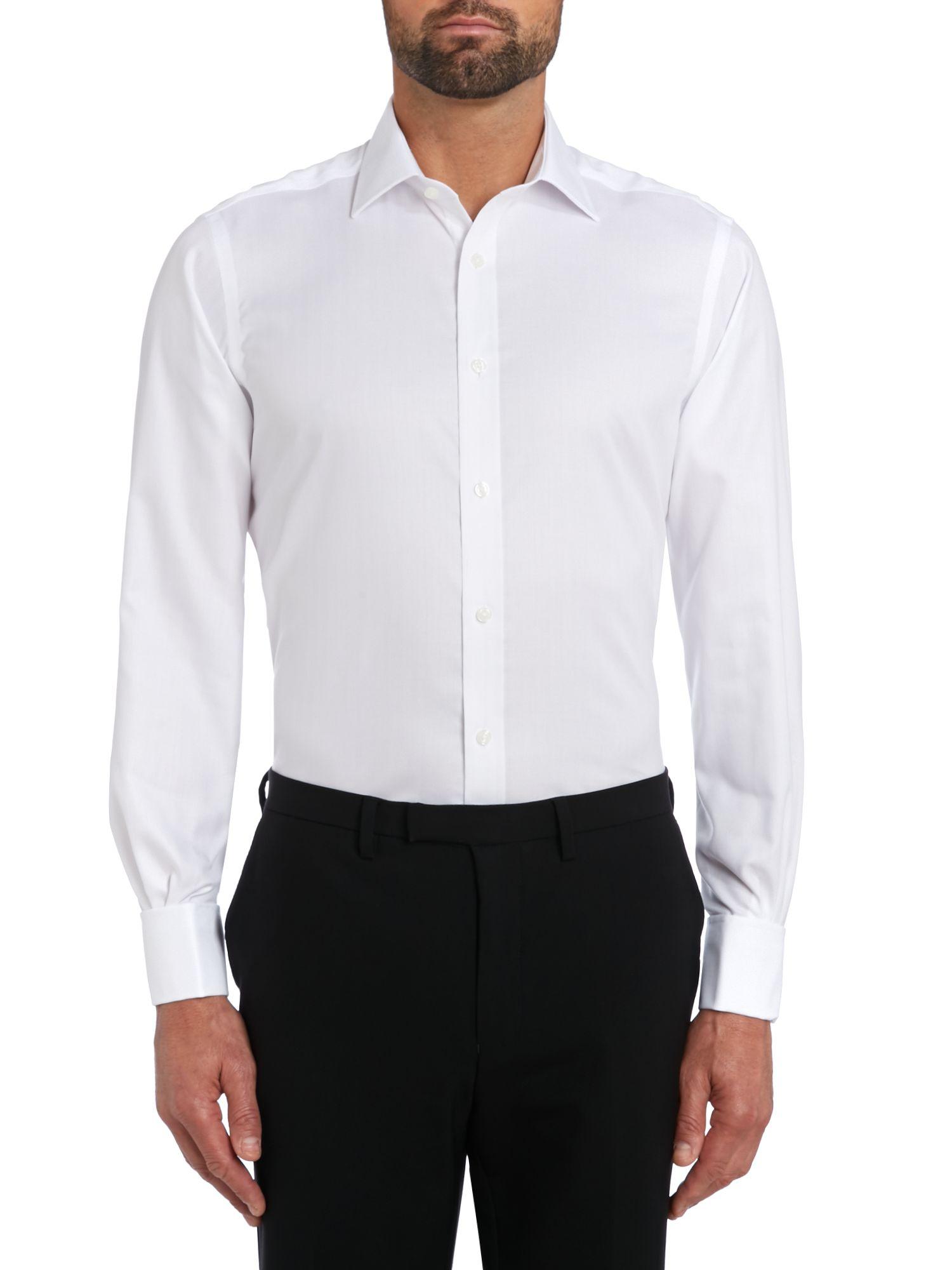 Tm lewin non iron herringbone slim fit formal shirt in for No iron slim fit dress shirts