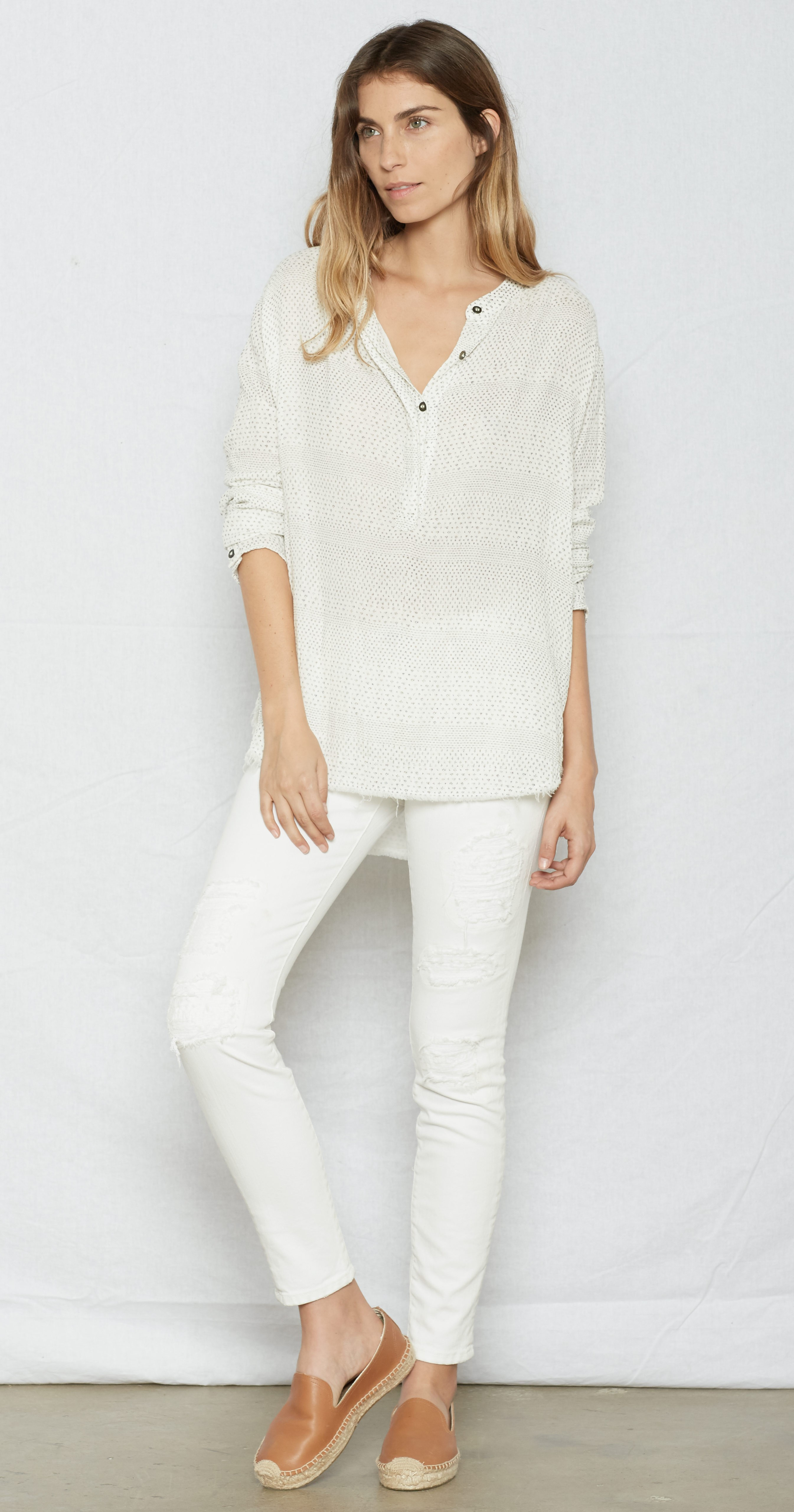 Current Elliott The Annabelle Blouse In White Lyst