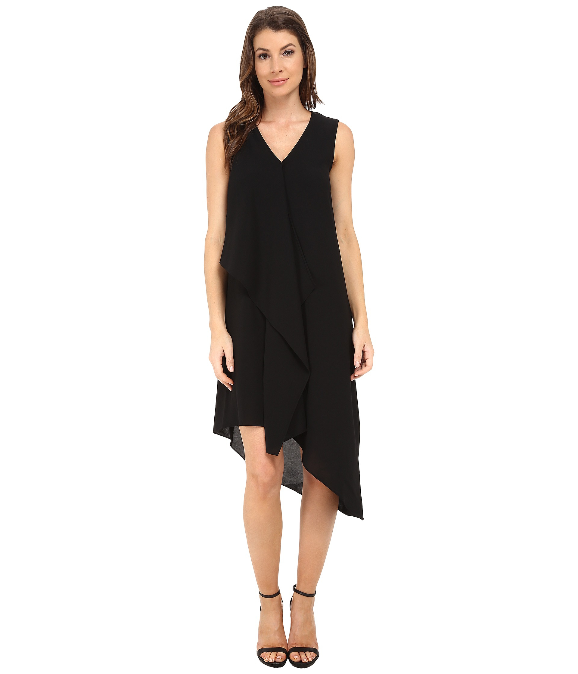 Adrianna papell Asymmetrical Front Drape Dress in Black