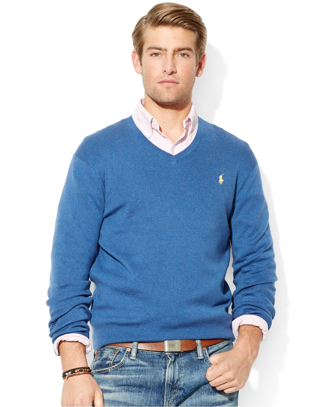 Polo ralph lauren Pima Cotton V-Neck Sweater in Blue for Men | Lyst