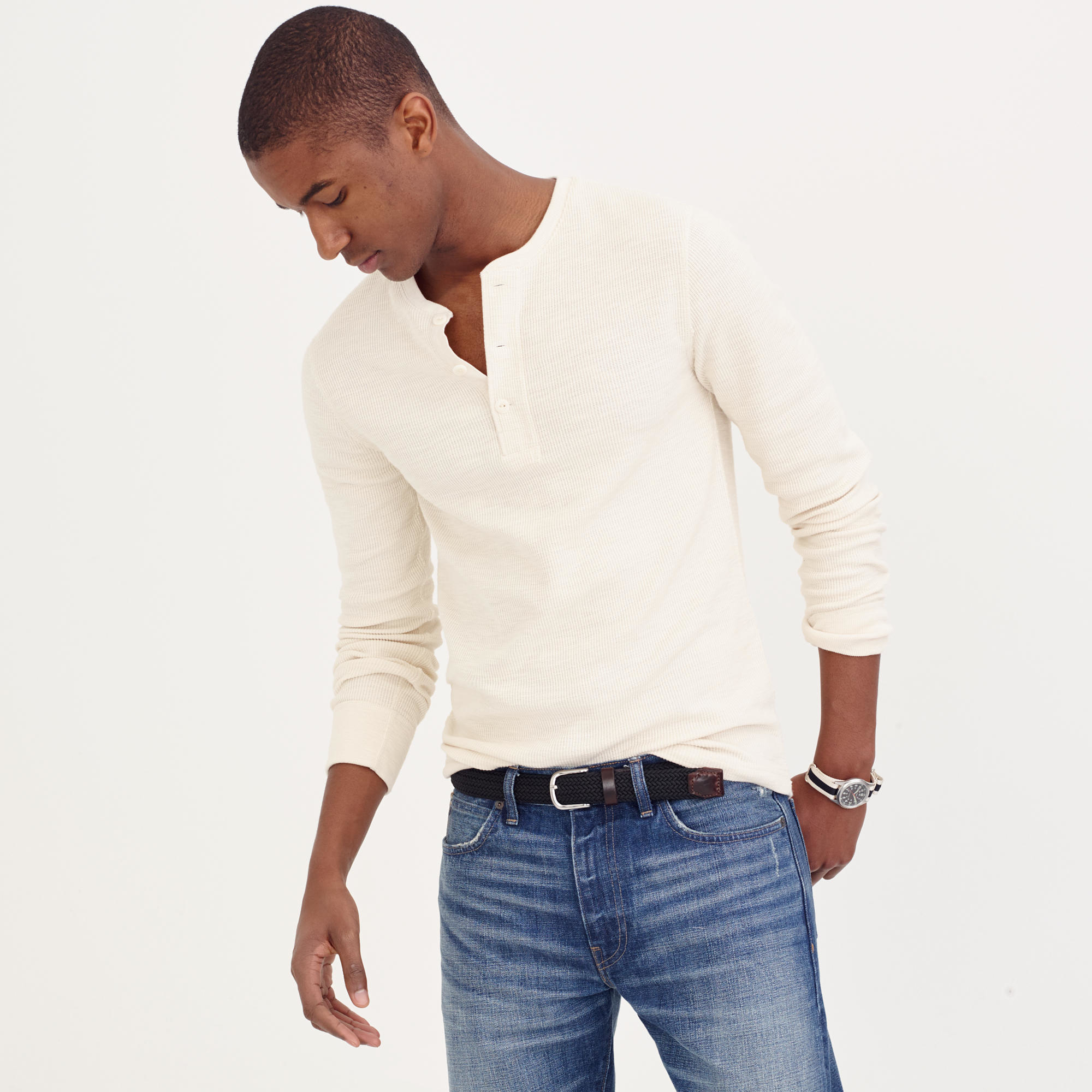b9847e16 Lyst - J.Crew Tall Thermal Henley in Natural for Men