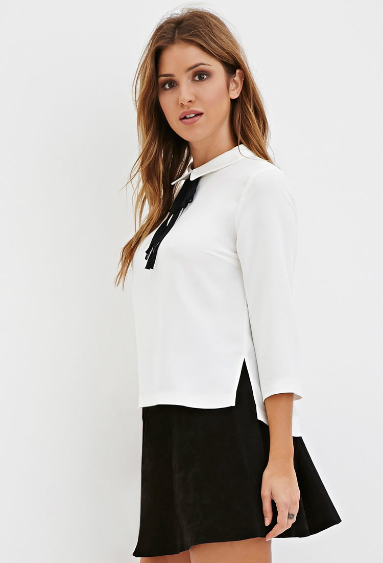 703e9f5e384d5 Forever 21 White Tie Blouse - Image Of Blouse and Pocket