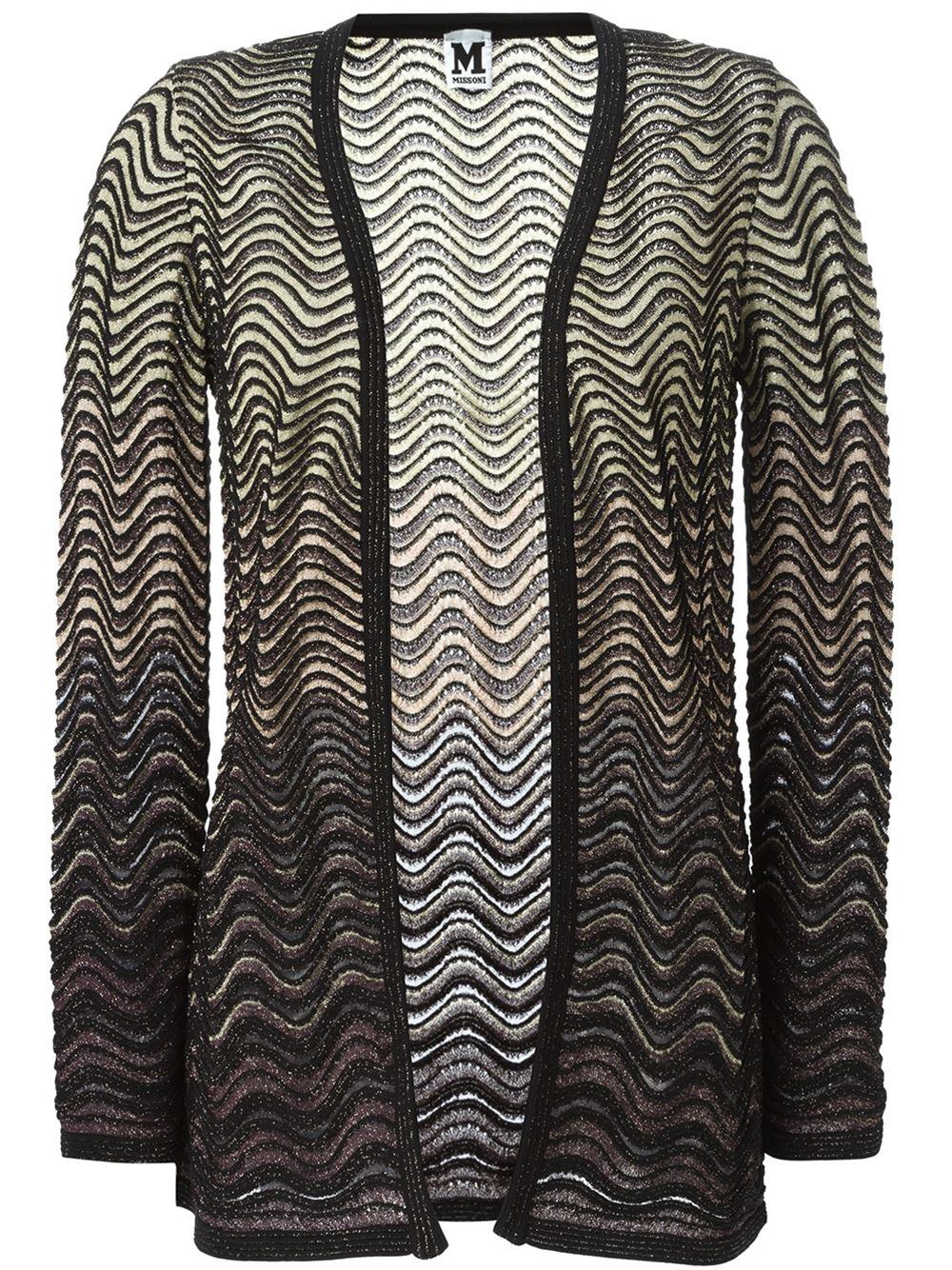 Lyst - M Missoni Wavy Knit Cardigan in Black 526b26dfa