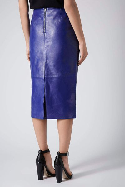 topshop cobalt leather calf pencil skirt in blue cobalt