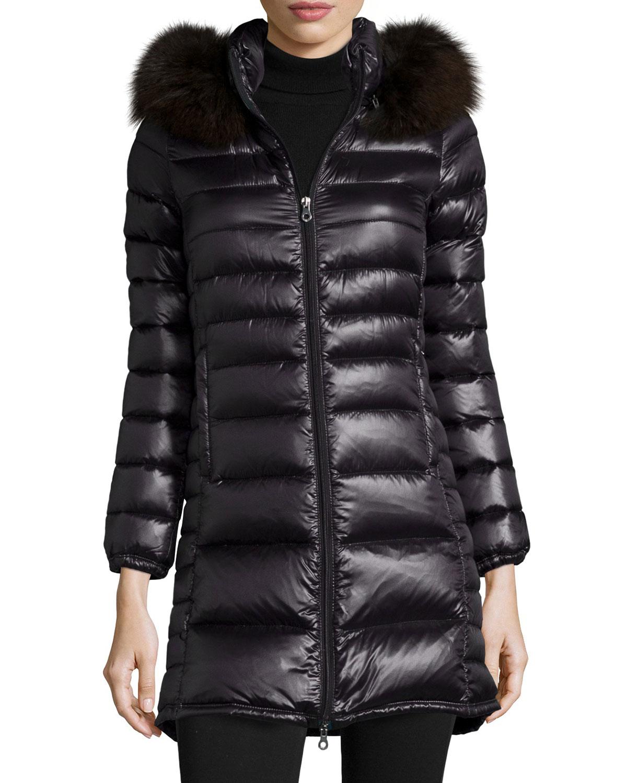 Long black puffer coat with hood