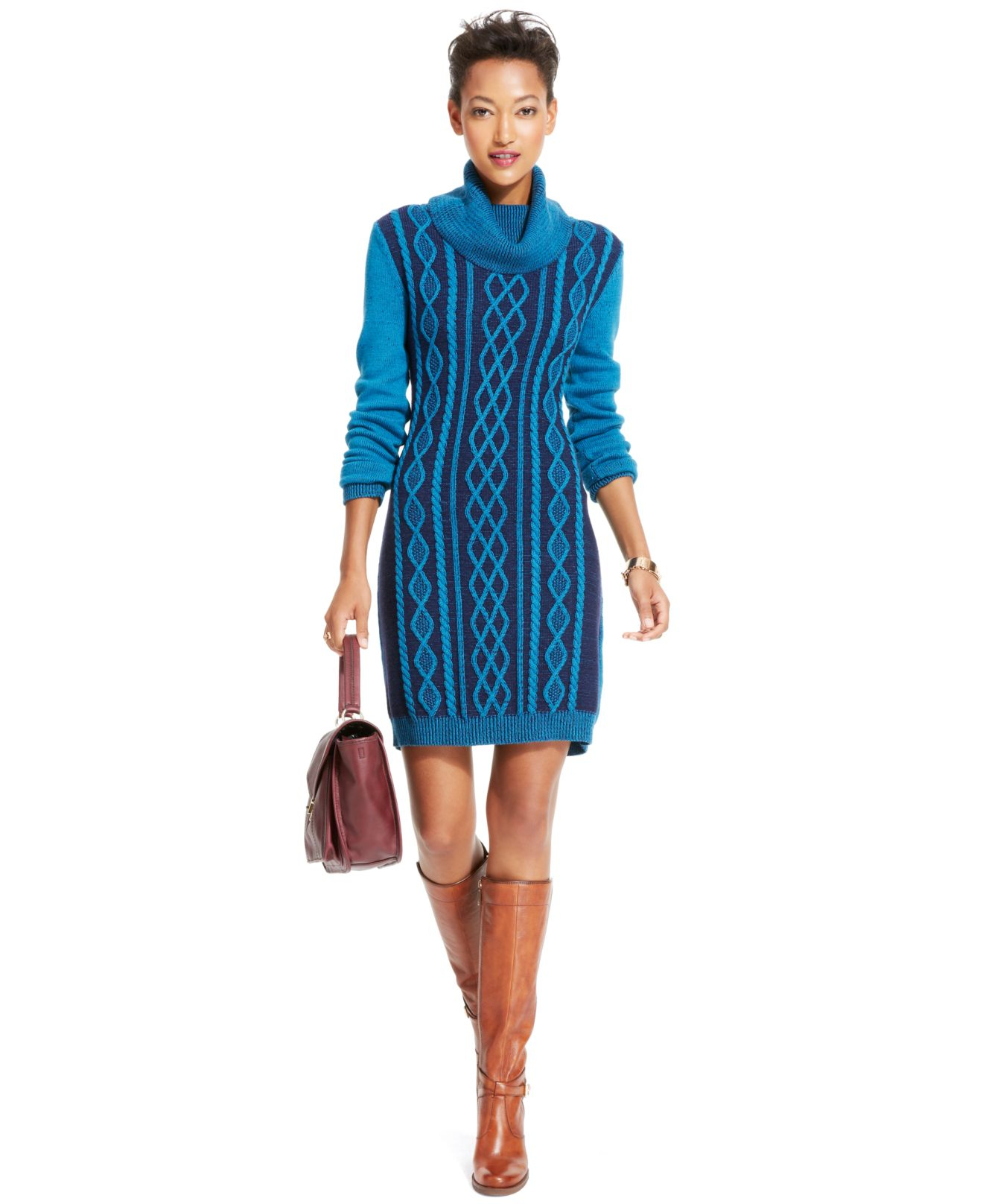 Tommy hilfiger Cable-Knit Cowl-Neck Sweaterdress in Blue | Lyst