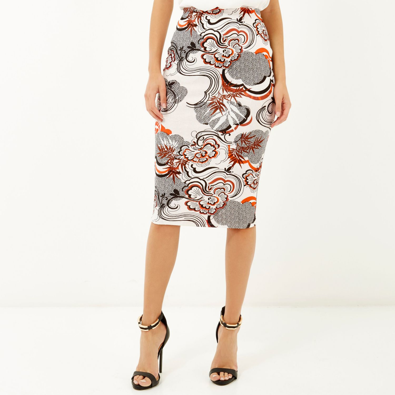 River island Orange Floral Print Pencil Skirt in Orange | Lyst