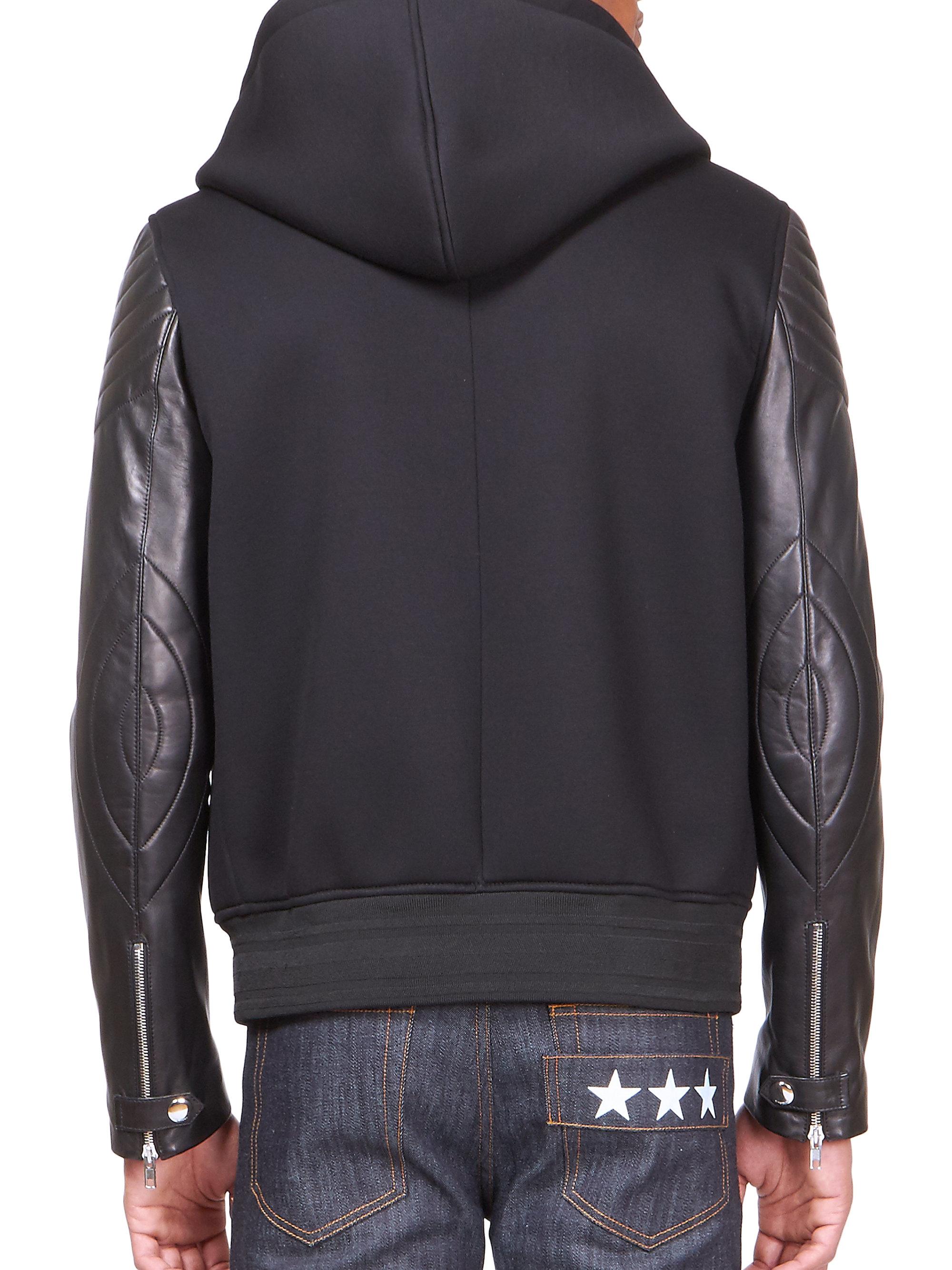 Leather jacket hoodie - Gallery