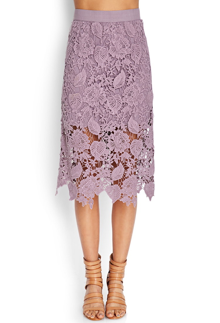 21 crochet lace midi skirt in purple lavender lyst