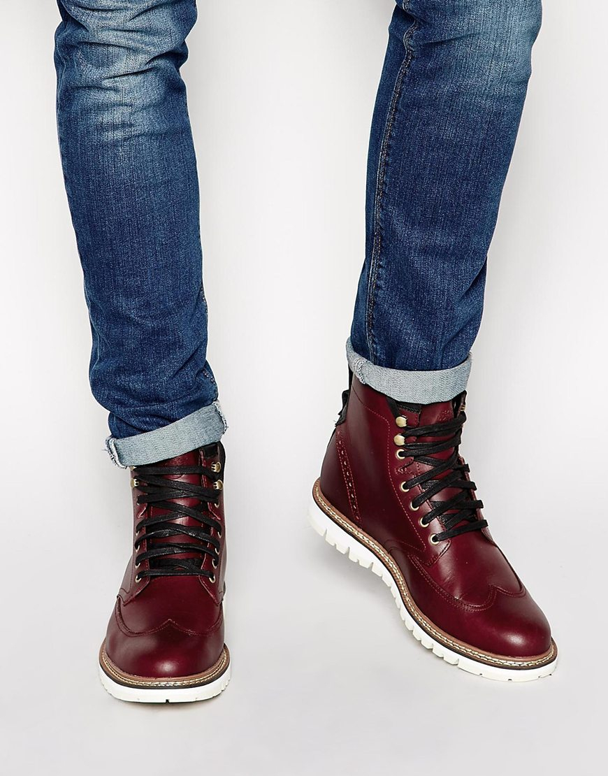 Lyst Timberland Earthkeepers Wing Tip Boots In Red For Men