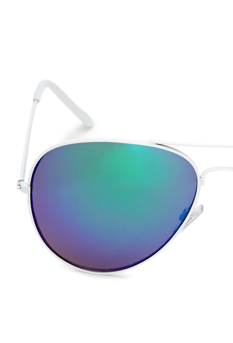 Lyst Forever 21 Cool Mirror Aviator Sunglasses In White