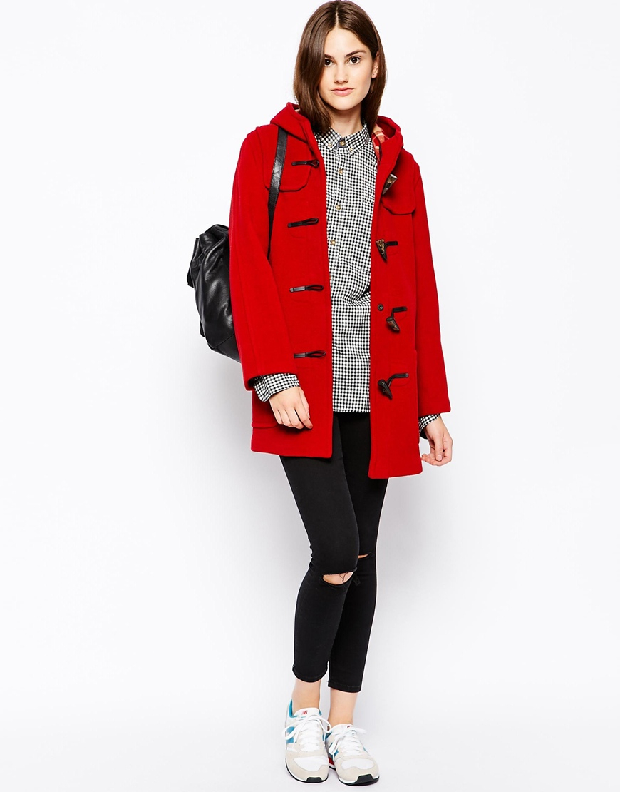Gloverall Longline Hooded Duffle Coat in Red for Men | Lyst
