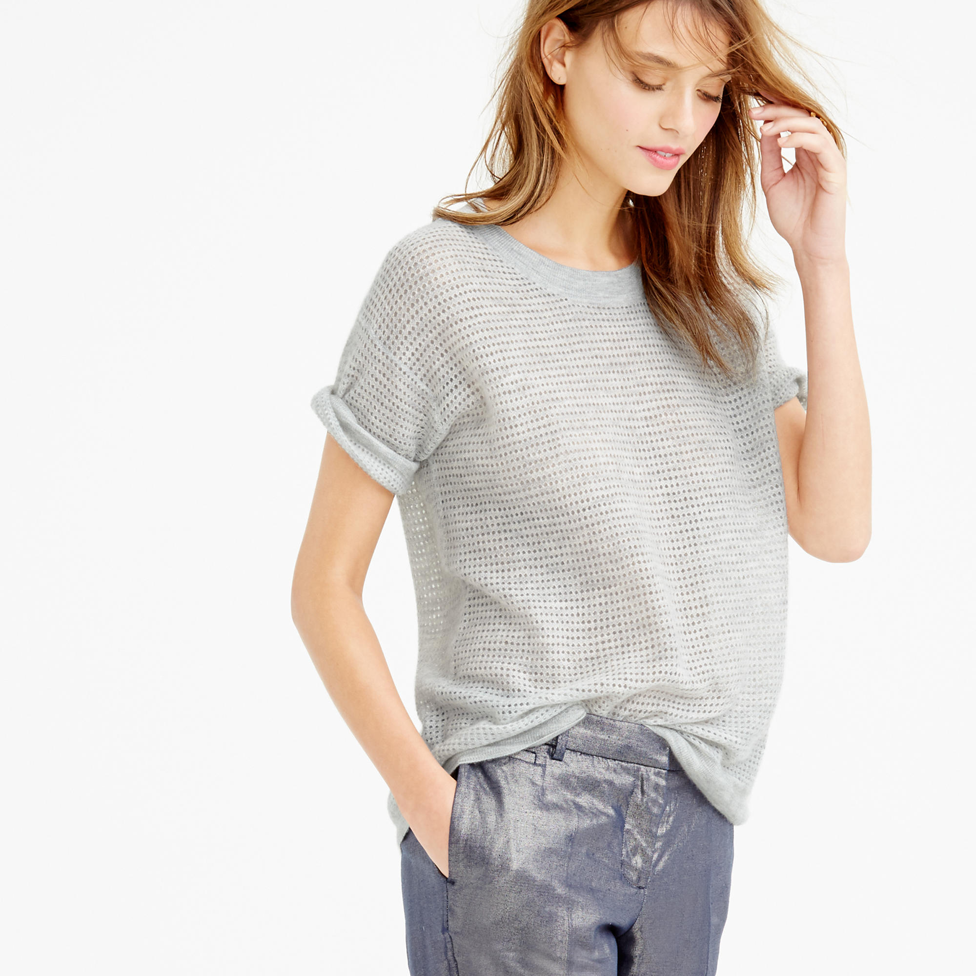 J.crew Collection Cashmere Short-sleeve Pointelle Sweater in Gray ...