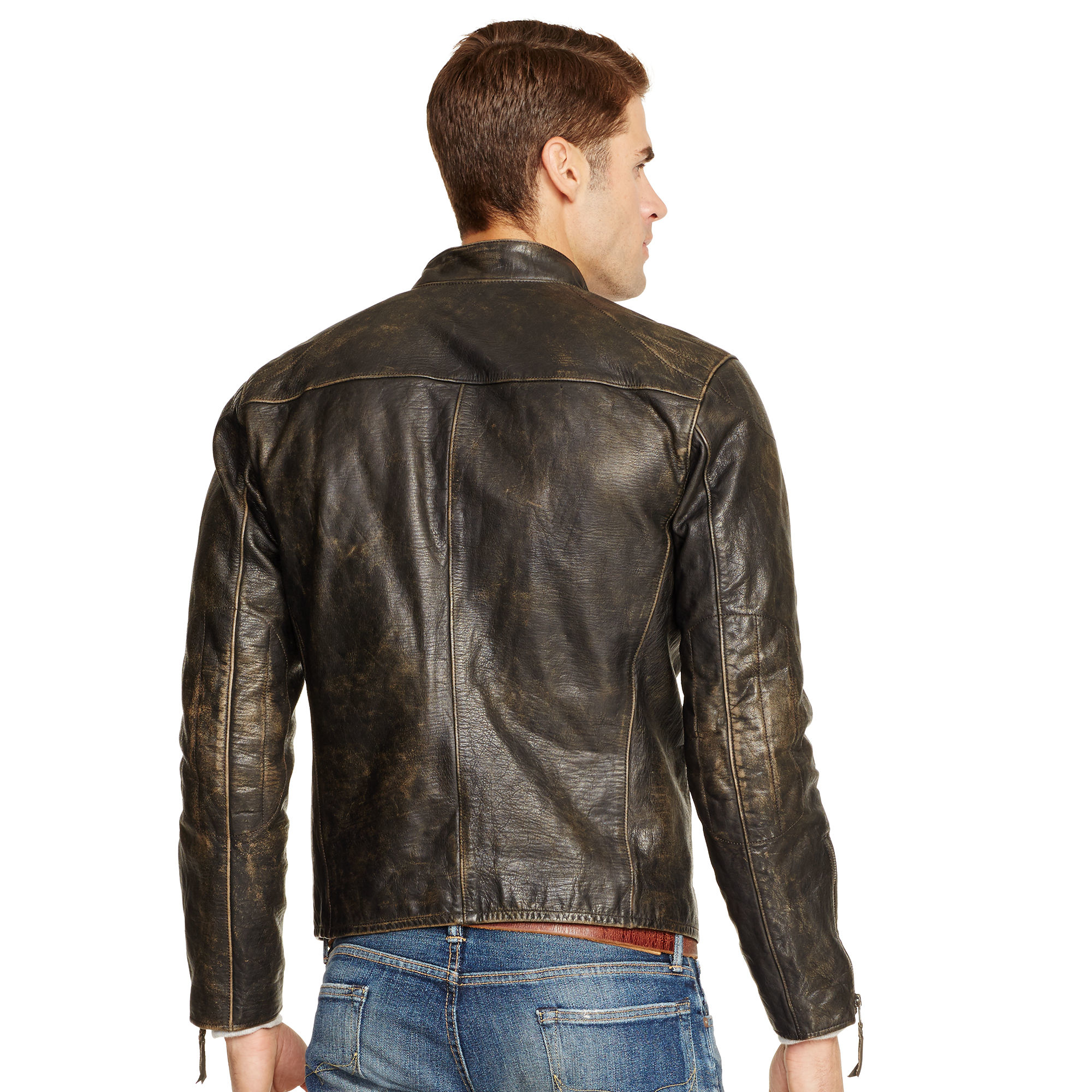 Polo Ralph Lauren Leather Caf 233 Racer Jacket In Black For