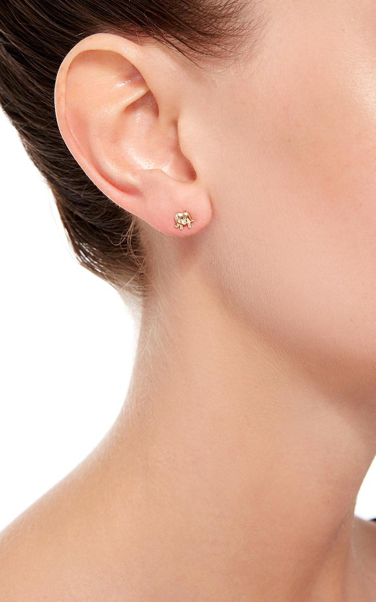 Lyst loquet london 14k gold elephant stud earring in metallic gallery freerunsca Images