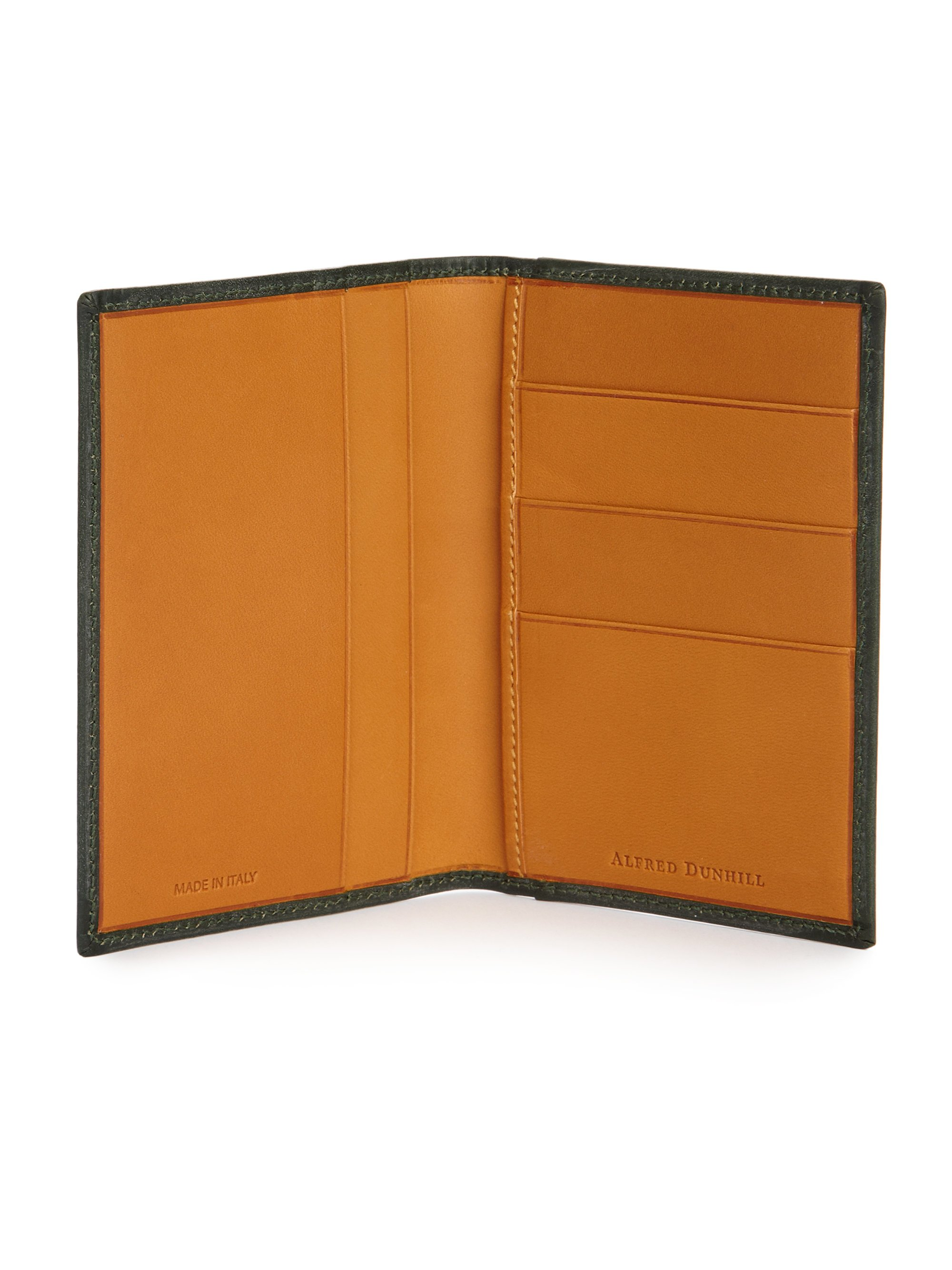 Lyst dunhill anderson leather business card case in green for men gallery colourmoves