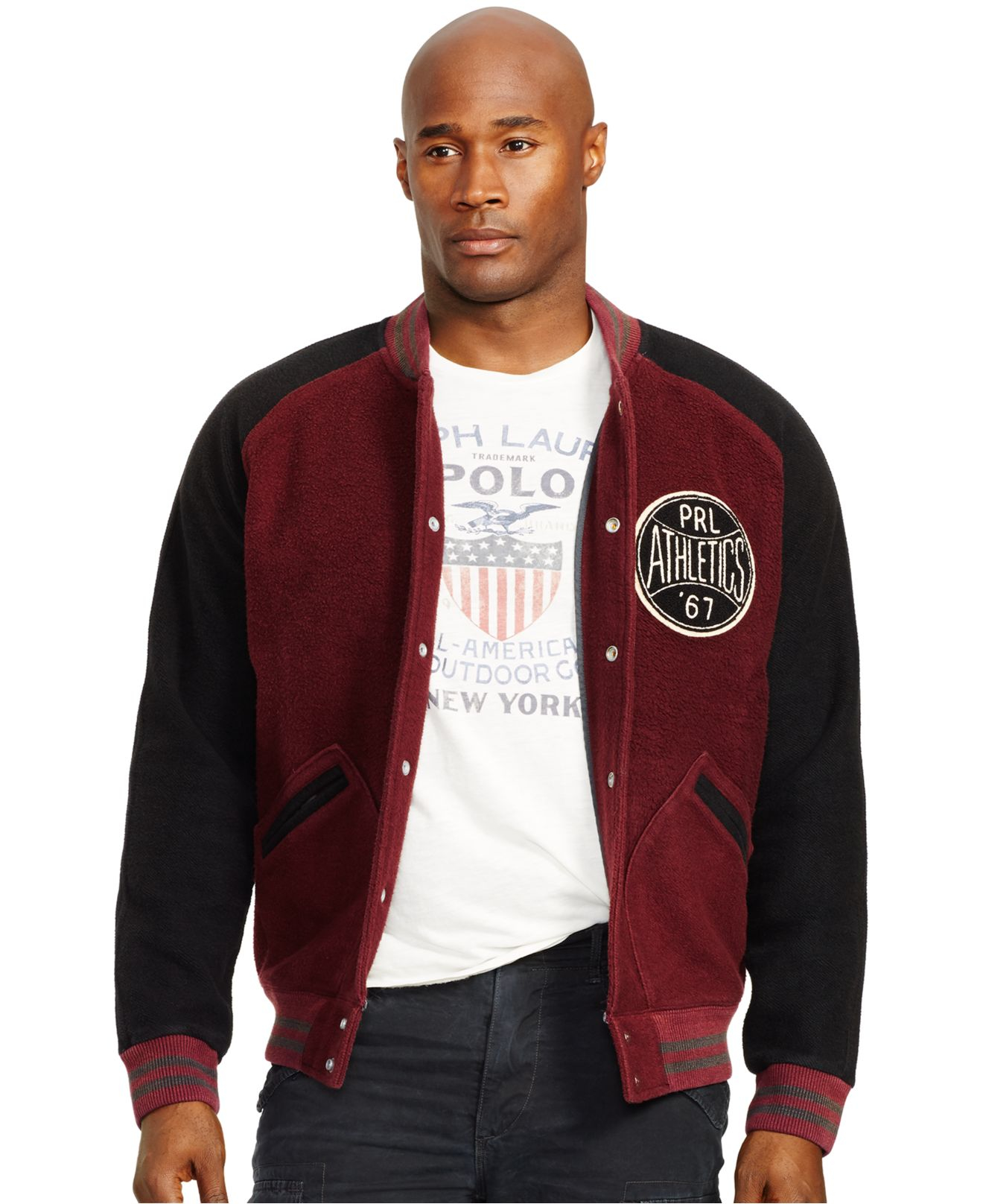 Polo ralph lauren Big And Tall Fleece Baseball Jacket in Red for ...