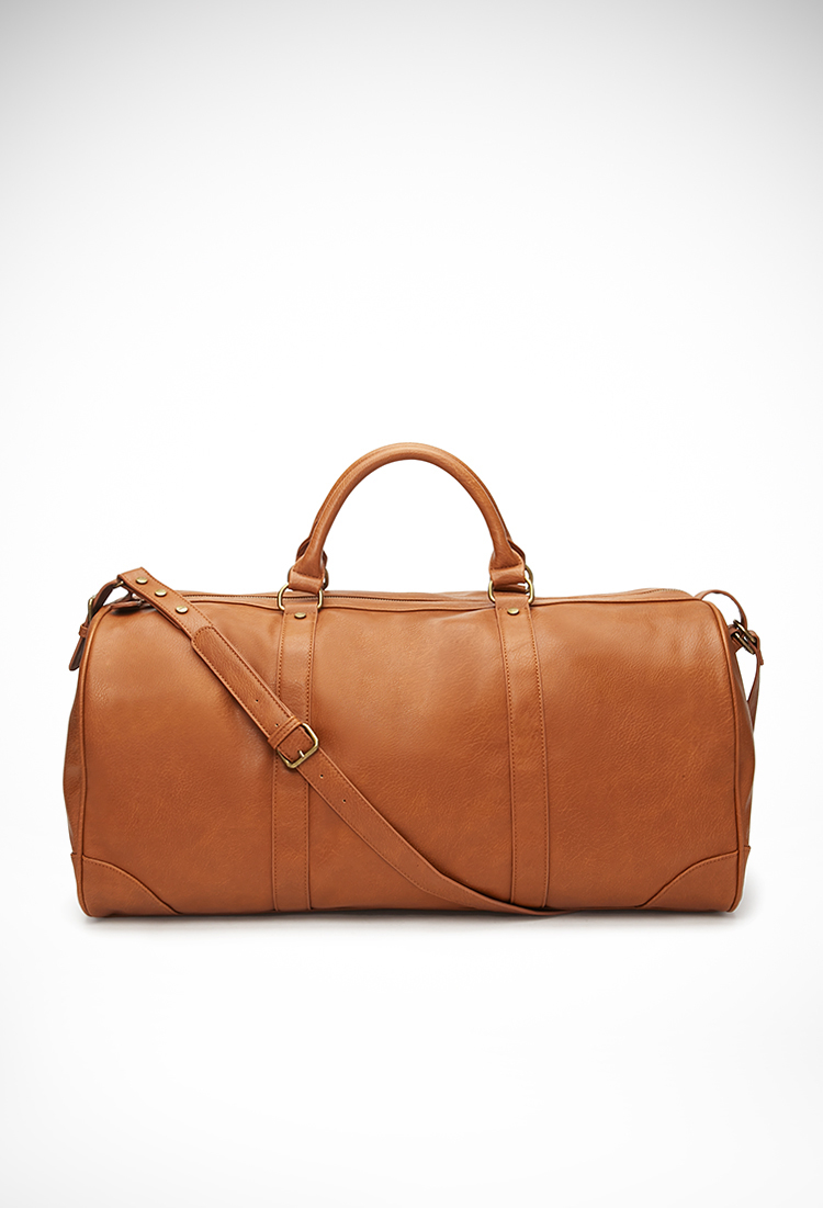 Forever 21 Faux Leather Weekender Bag in Brown | Lyst