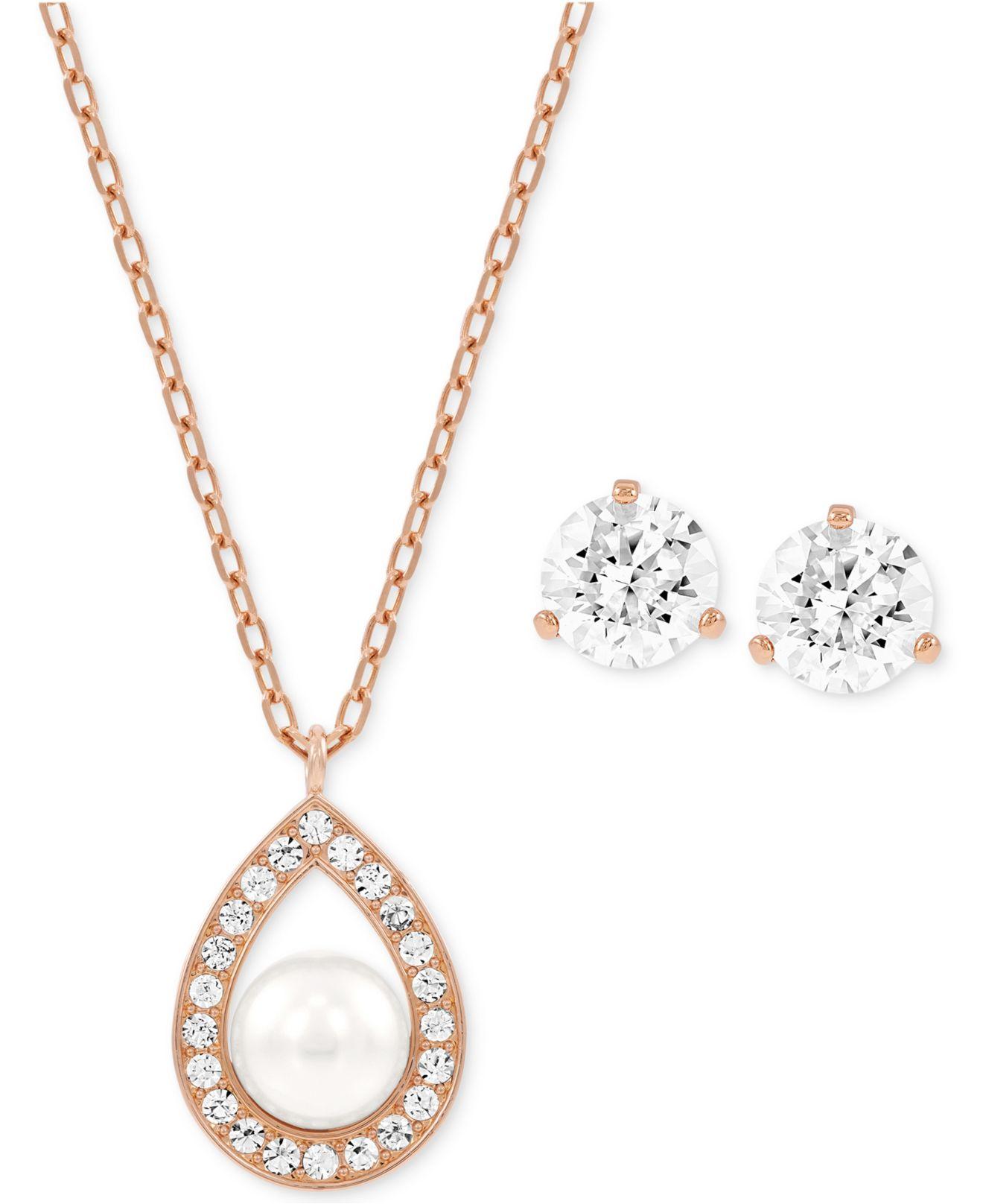 Lyst Swarovski Rose Goldtone Crystal Pearl Pendant Necklace And