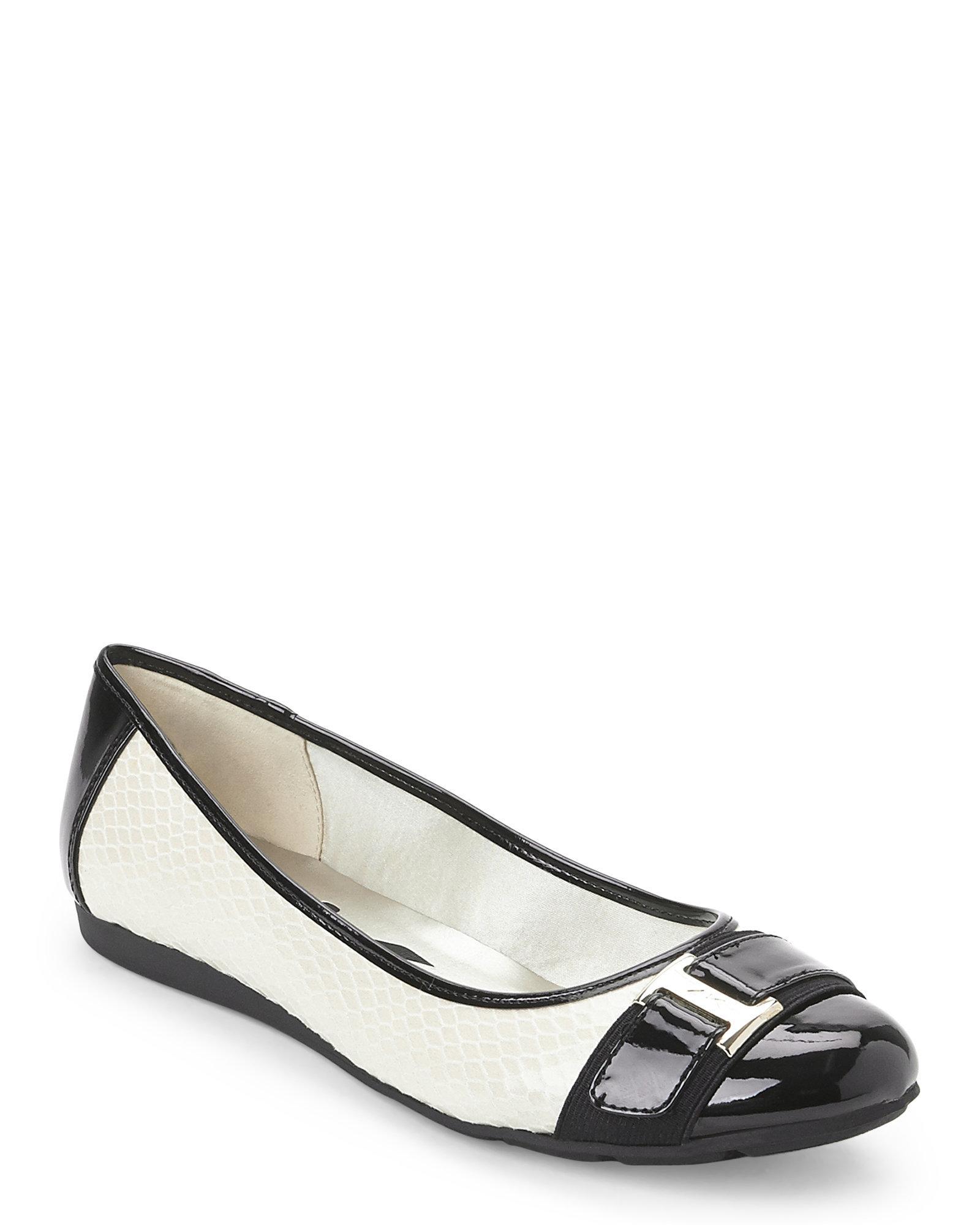 5f77c7f65ca Lyst - Ak Anne Klein Vanilla Cream   Black Appeal Flats in Black