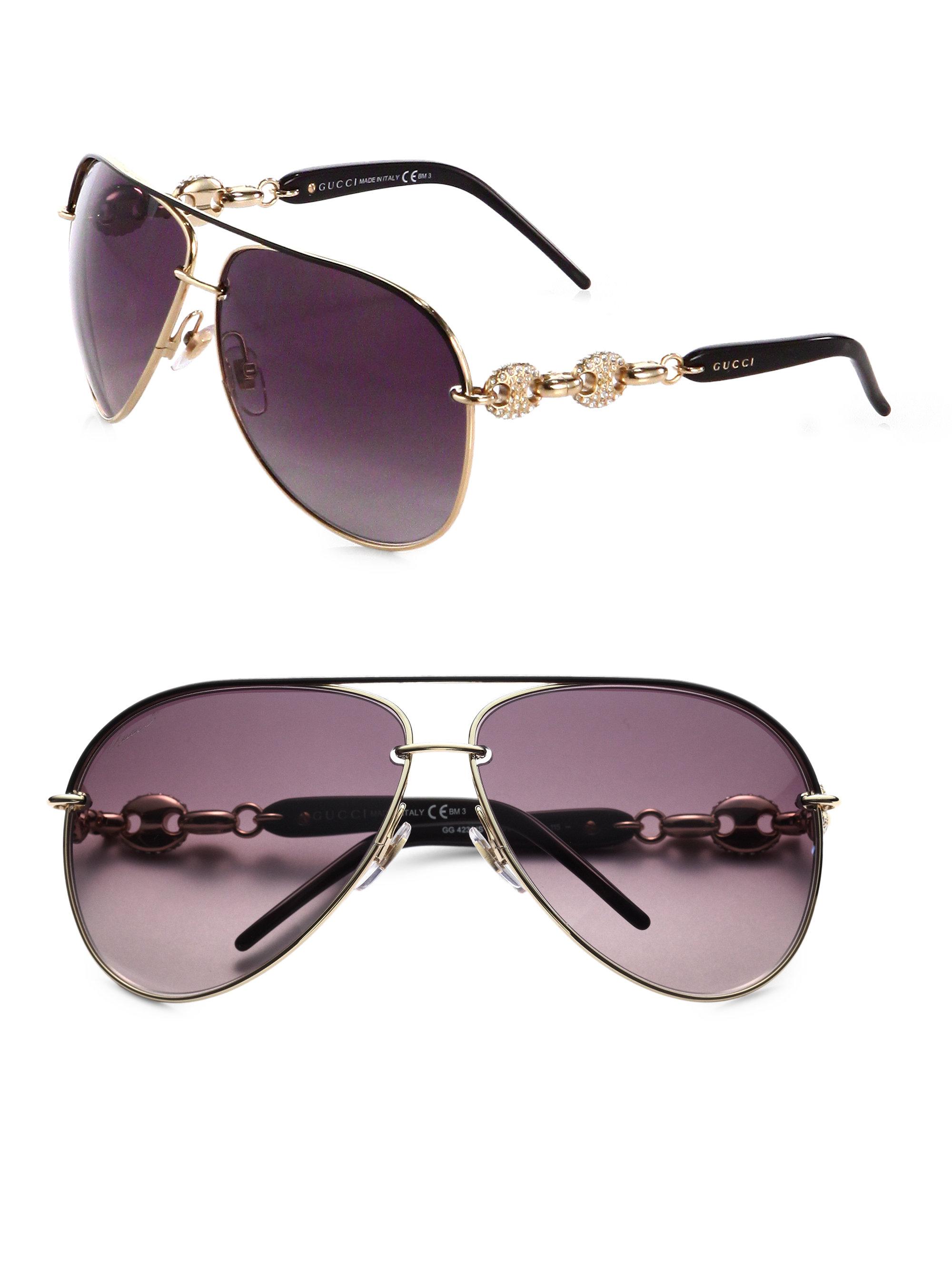 645735f2ab0 Lyst - Gucci Embellished Aviator Sunglasses in Metallic