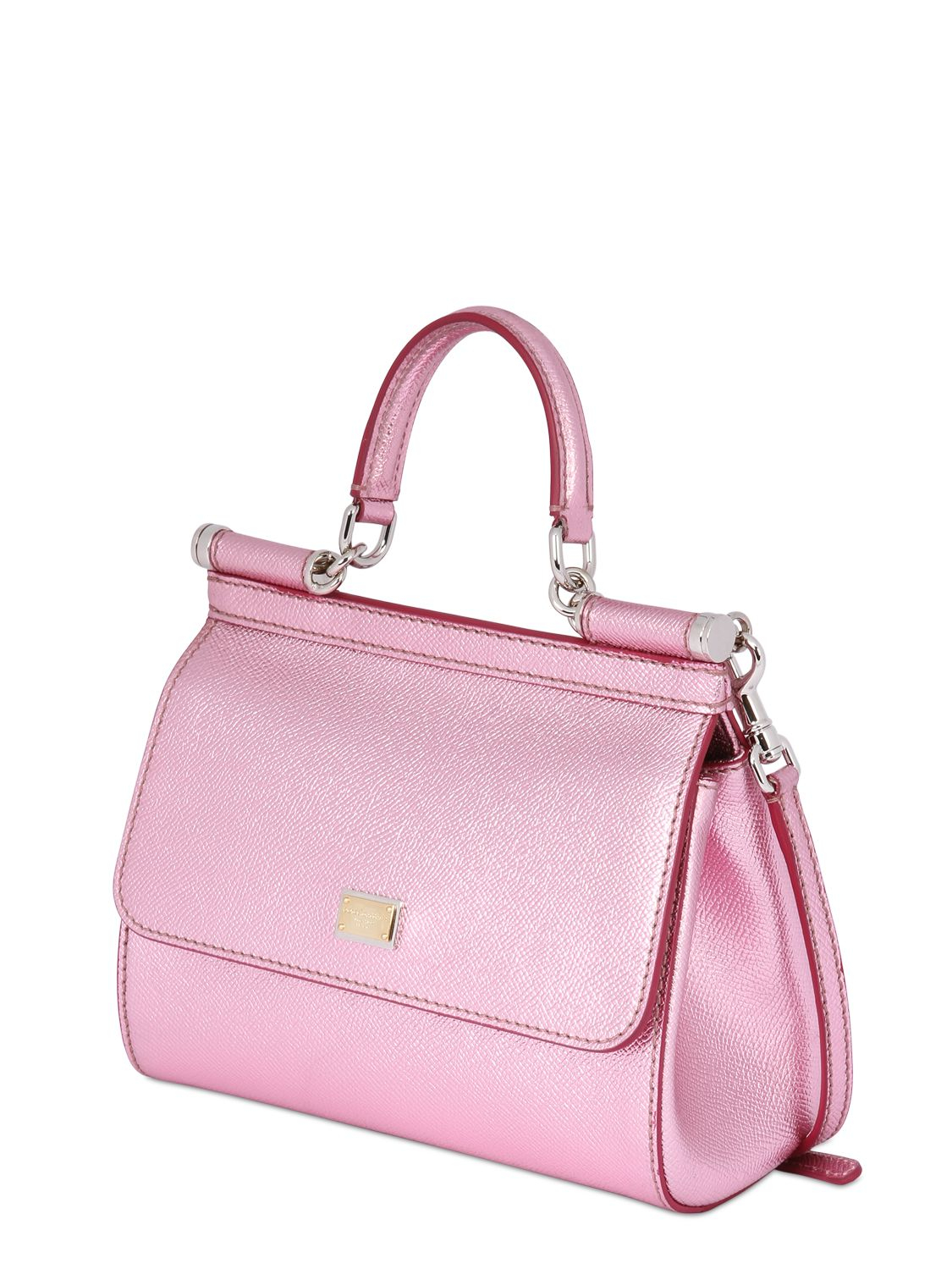 8c631e224be7 Lyst - Dolce   Gabbana Small Sicily Lamé Dauphine Leather Bag in Pink