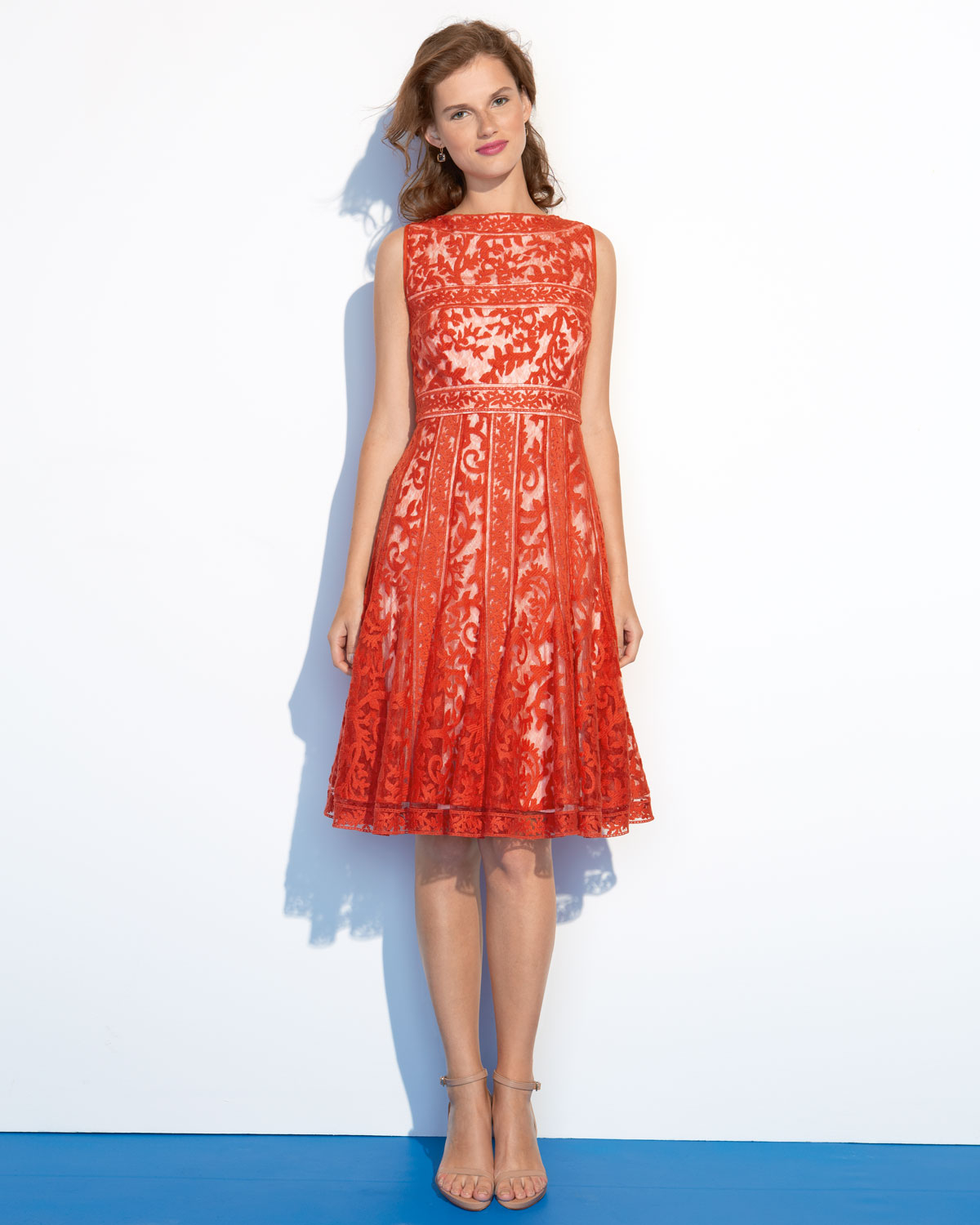 Tadashi shoji Fitandflare Lace Cocktail Dress in Red | Lyst