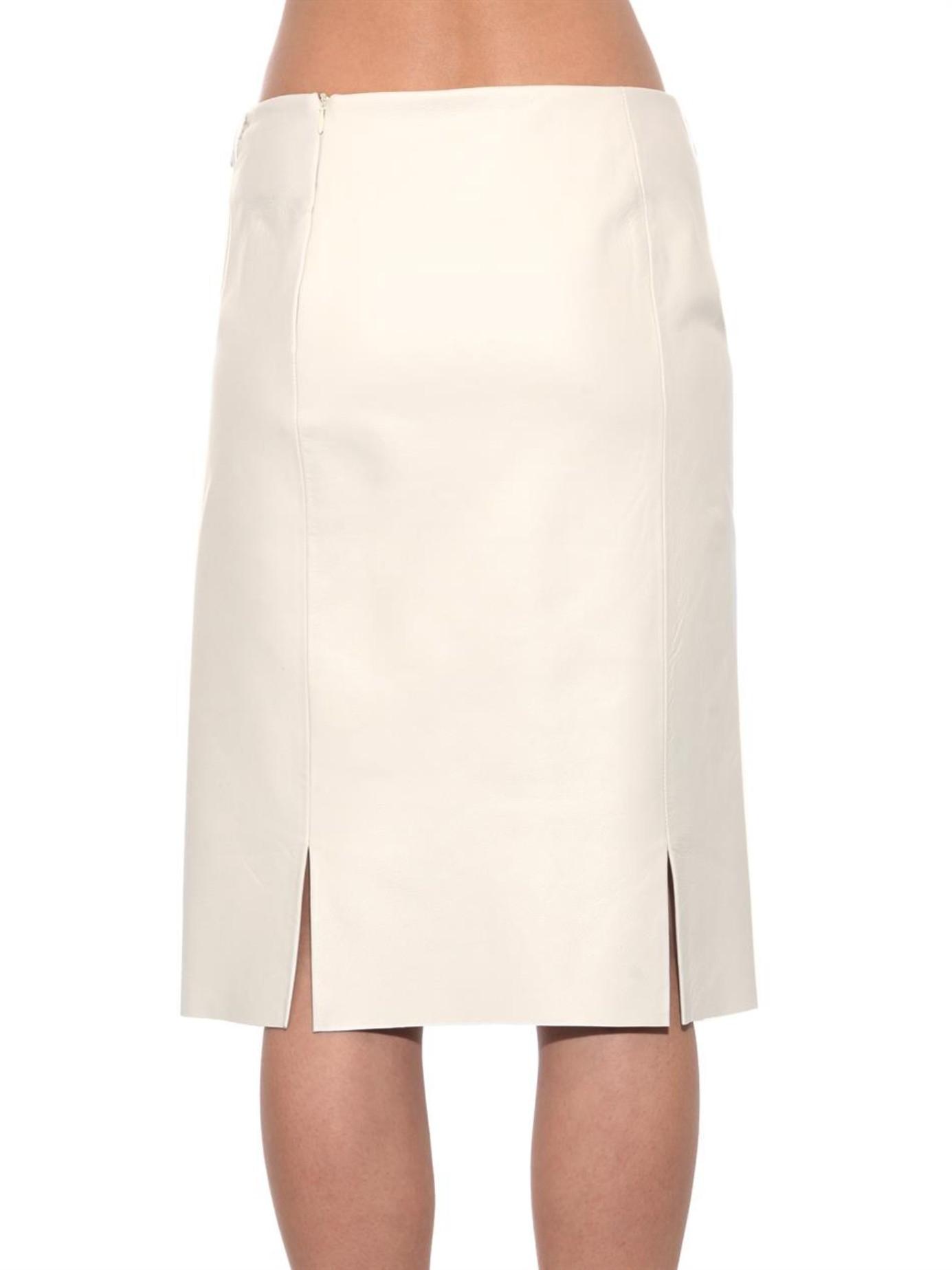 lucas nascimento leather pencil skirt in white lyst