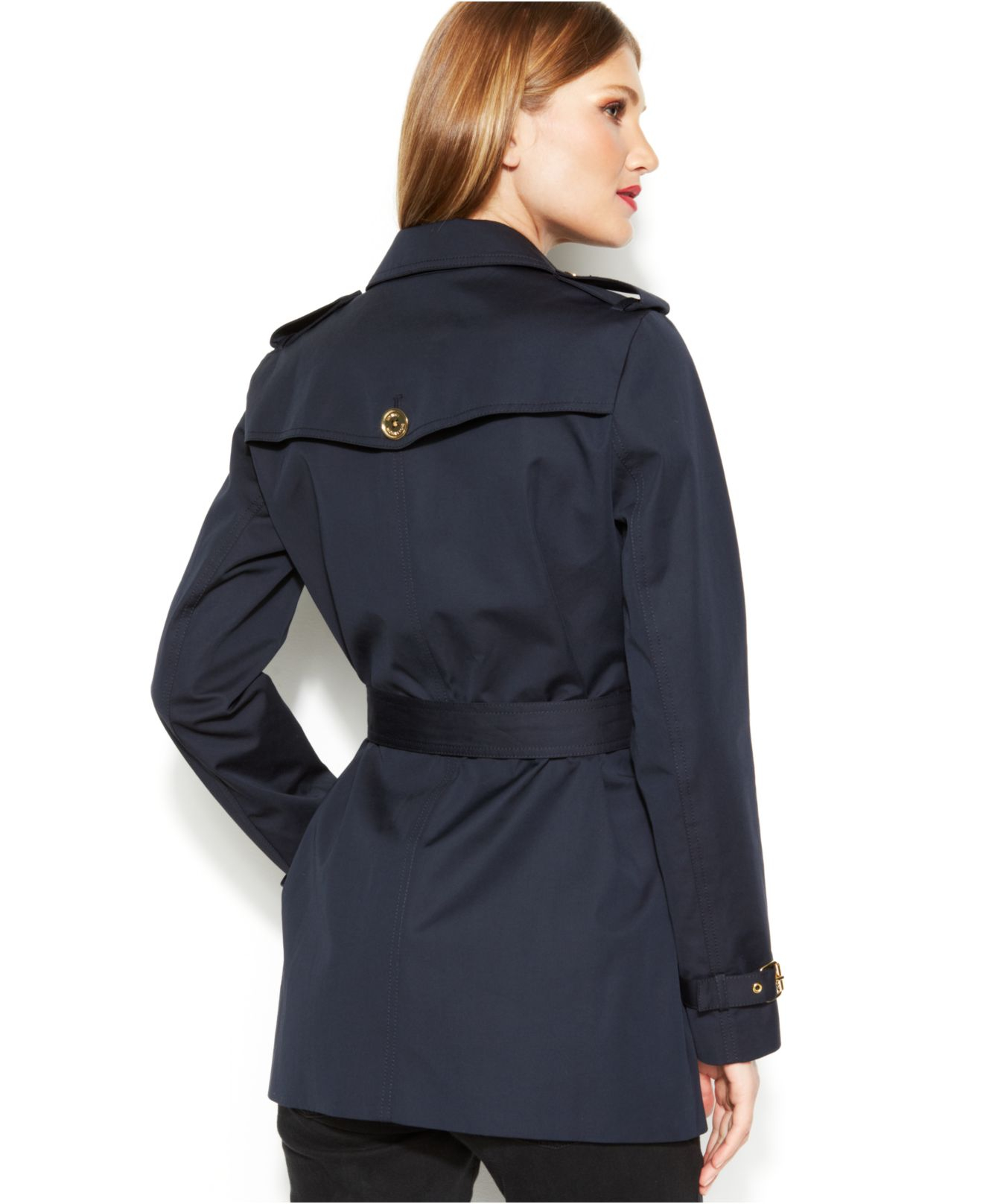 Michael kors Michael Petite Double-Breasted Belted Trench Coat in ...