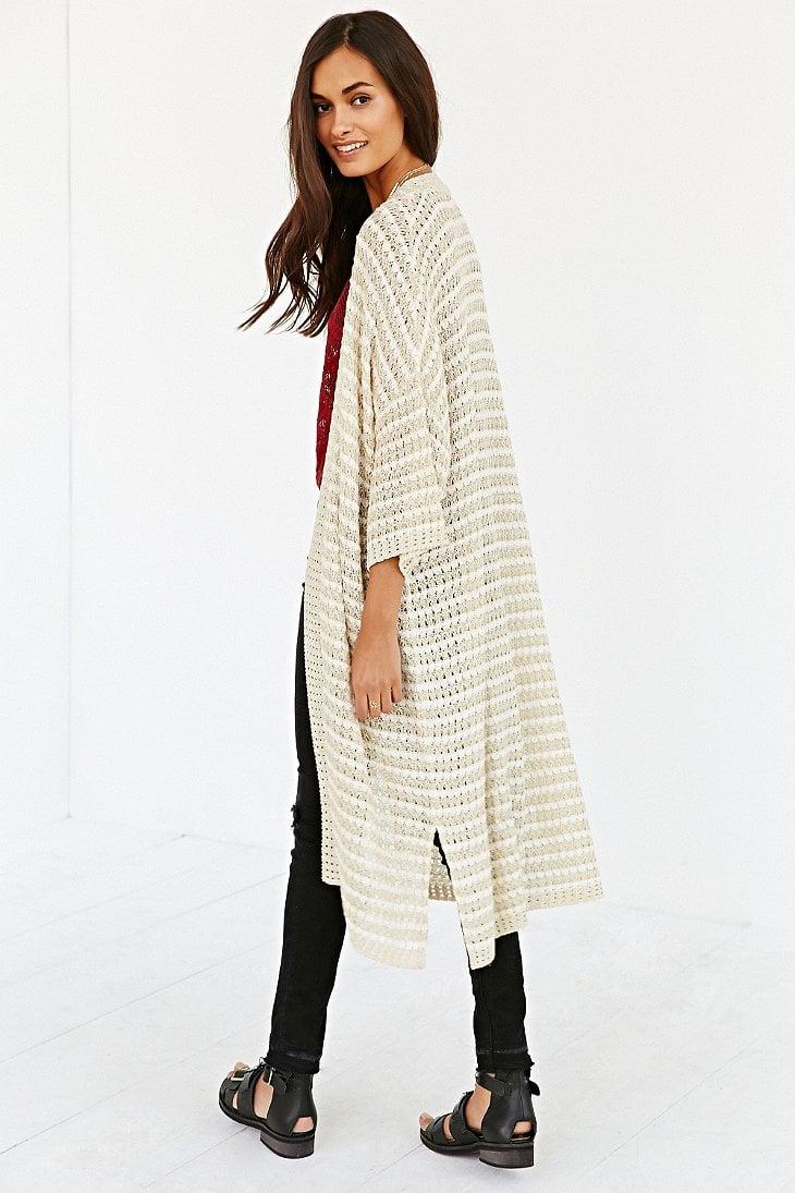 Ecote Maxi Kimono Cardigan in White | Lyst