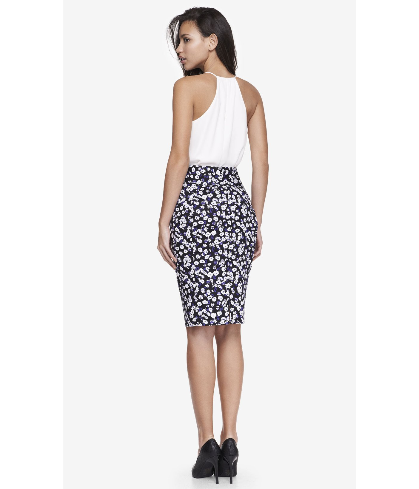 Express Floral High Waist Midi Pencil Skirt in Blue | Lyst