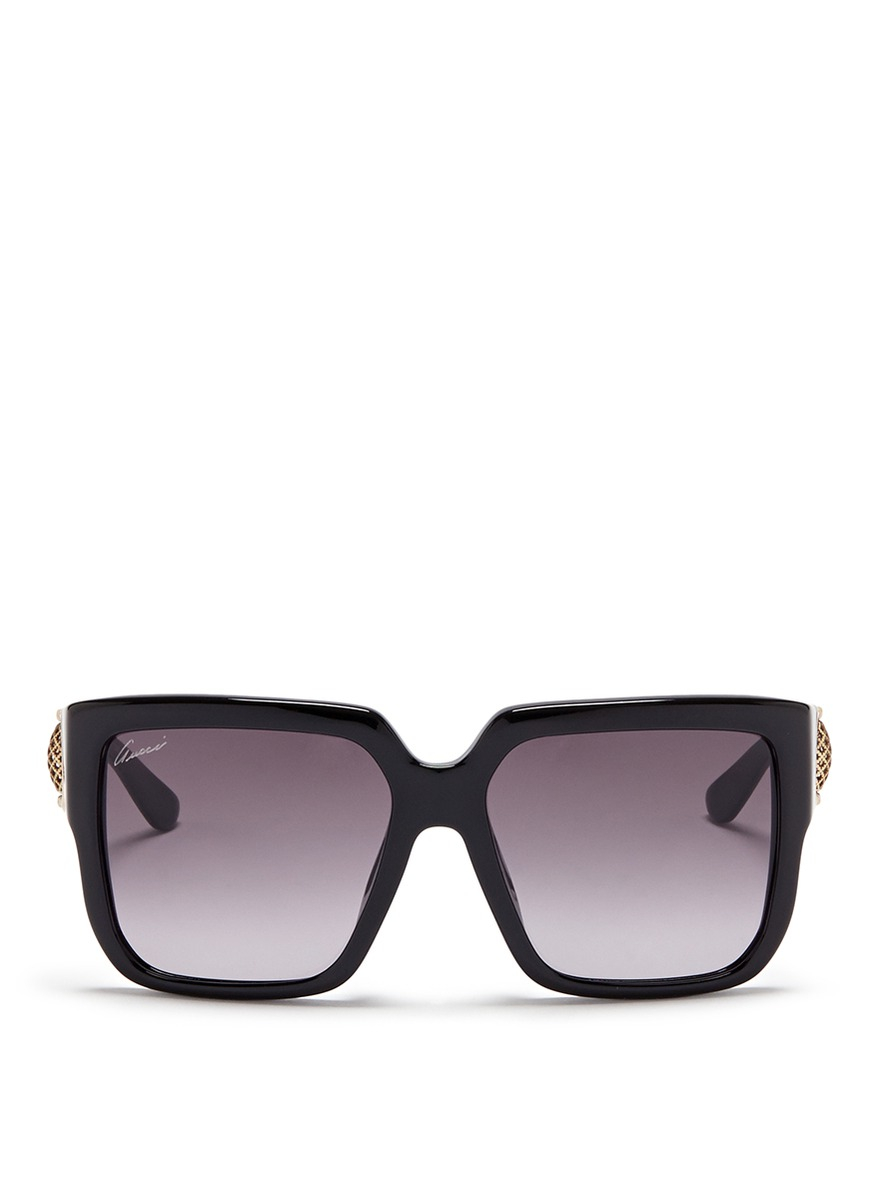 0331addcffa Lyst - Gucci Horsebit Hinge Chunky Square Sunglasses in Black