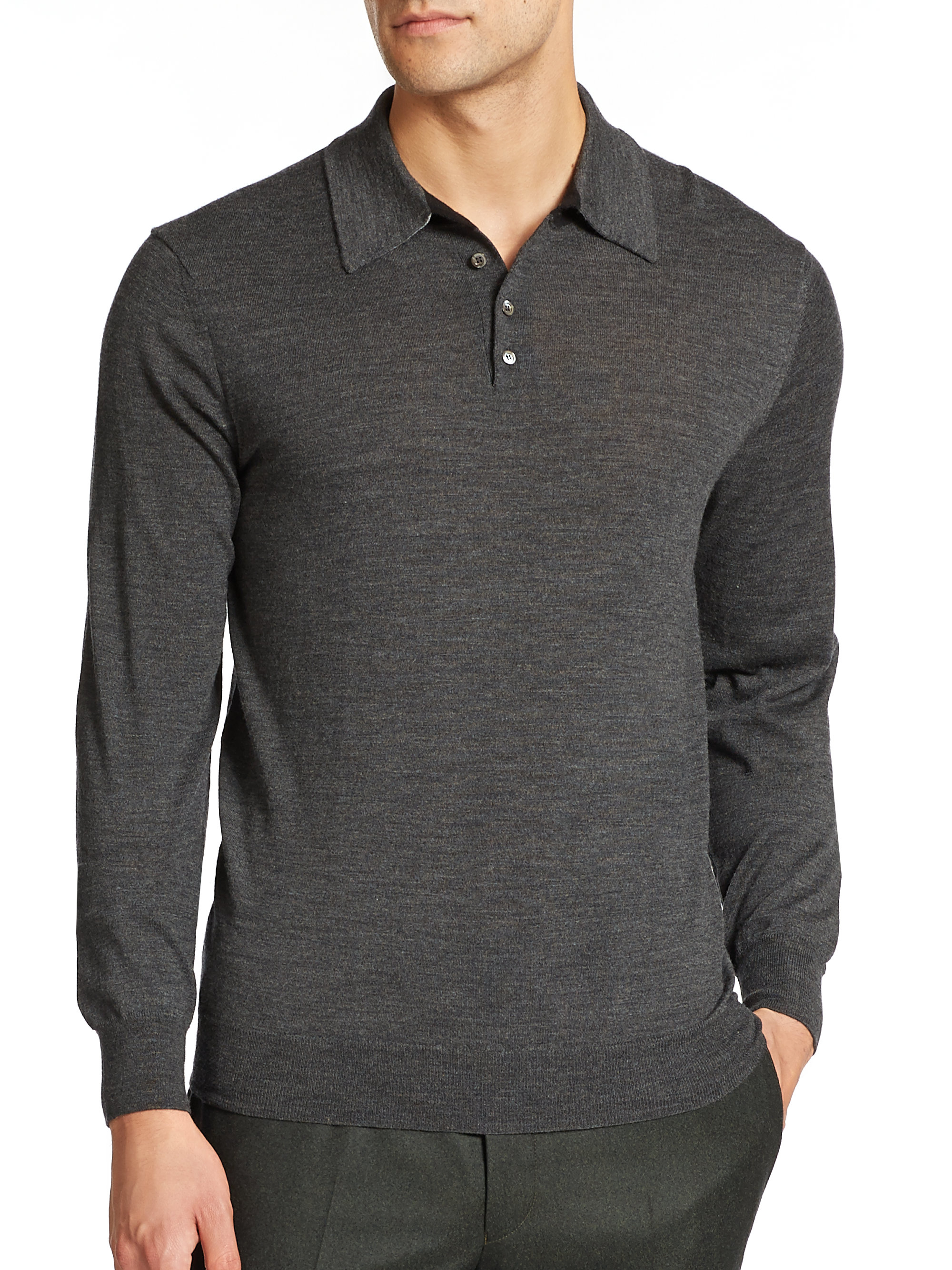 Saks fifth avenue merino wool long sleeved polo in gray for Long sleeve wool polo shirts