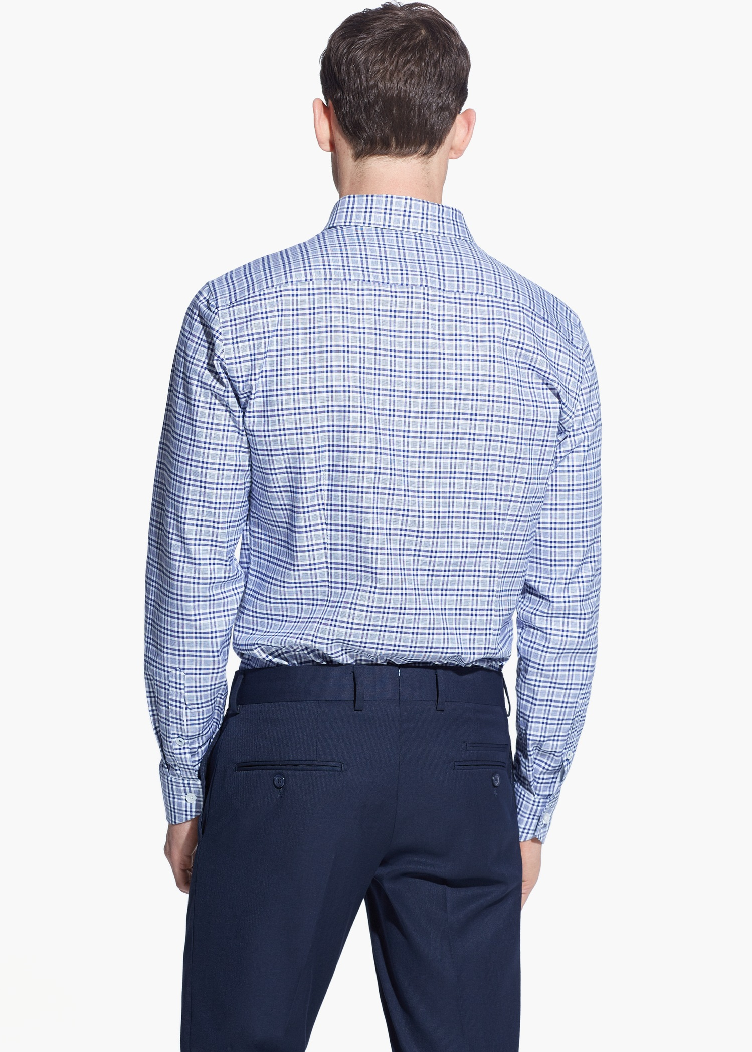 Lyst mango slim fit tailored gingham check shirt in blue for Slim fit gingham check shirt