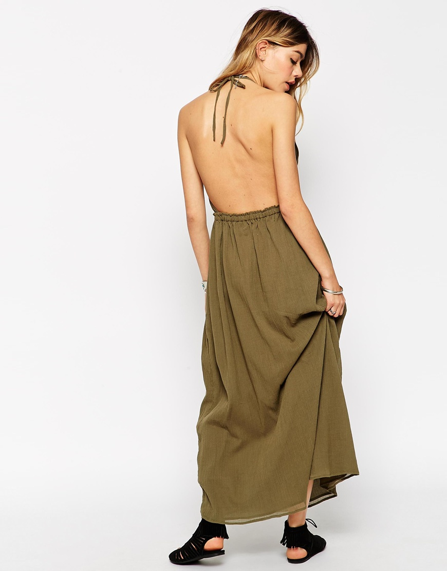 Khaki maxi dress asos