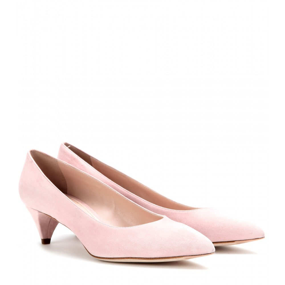 Lyst Miu Miu Suede Kitten Heel Pumps In Pink