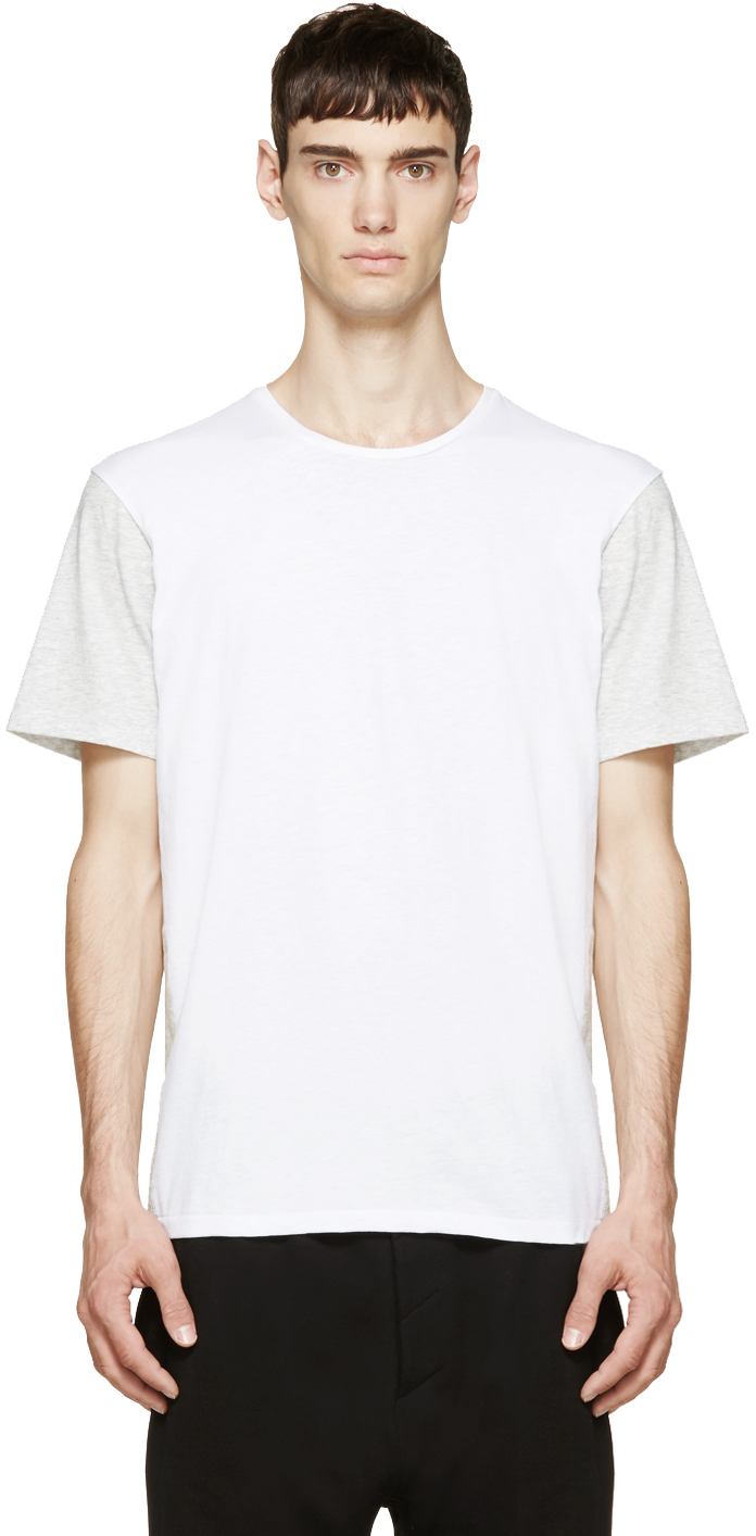 Rag Bone White And Heather Grey Colorblocked T Shirt In