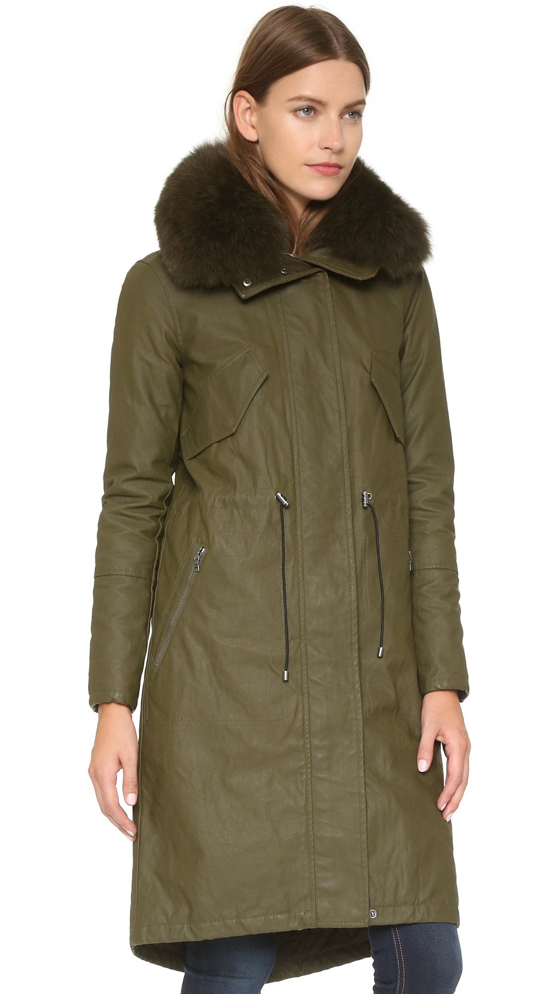 Alice   olivia Quinton Long Hooded Parka - Olive in Green | Lyst
