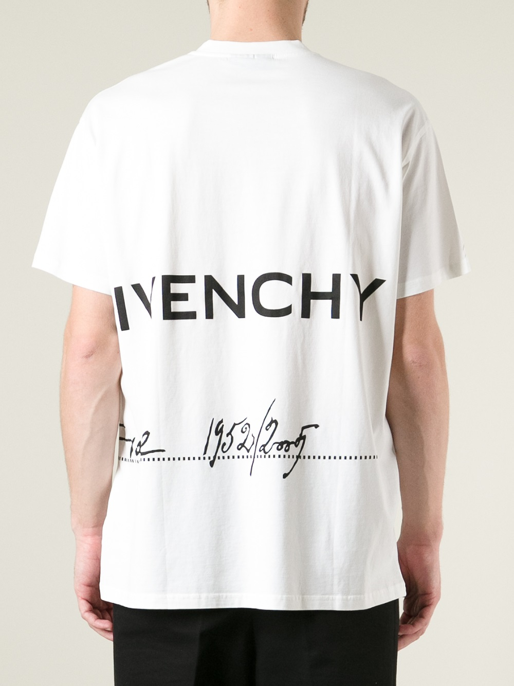 Givenchy logo print t shirt in white for men lyst for Tee shirt logo printing