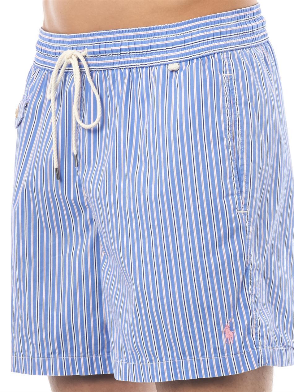 7f25b8cd31 Polo Ralph Lauren Traveler Butcher's Stripe Swim Shorts in Blue for ...