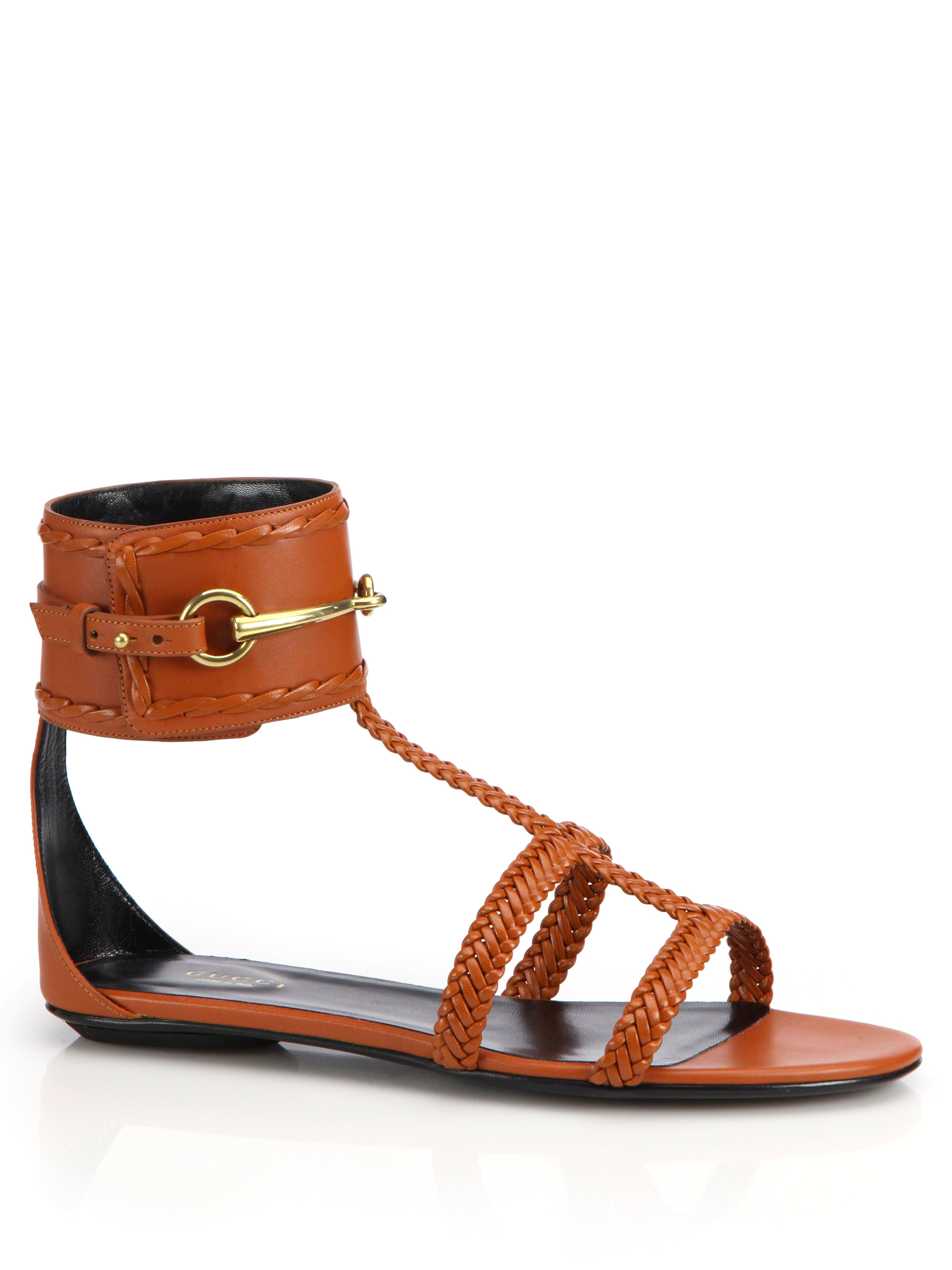 ded02d739a49 Lyst - Gucci Ursula Horsebit Braided Flat Sandals in Orange
