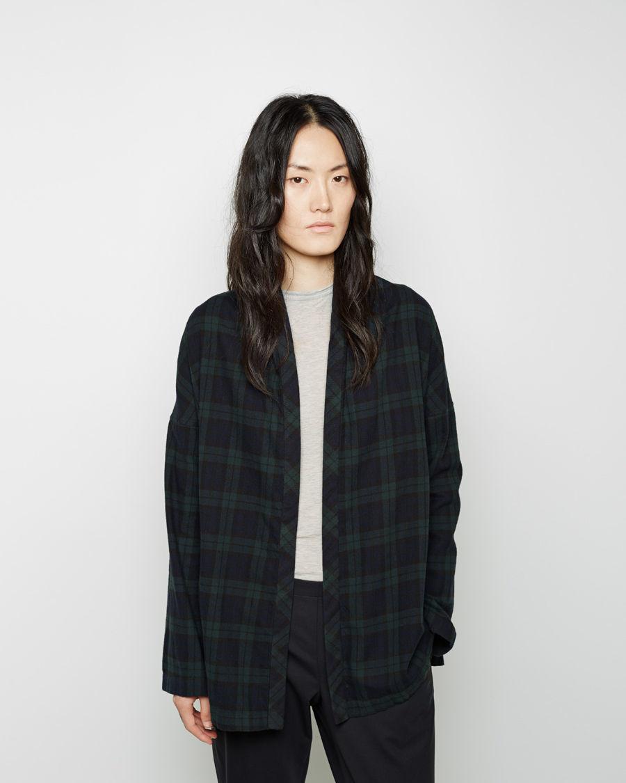 Lyst 6397 flannel shirt cardigan in black for Black watch flannel shirt