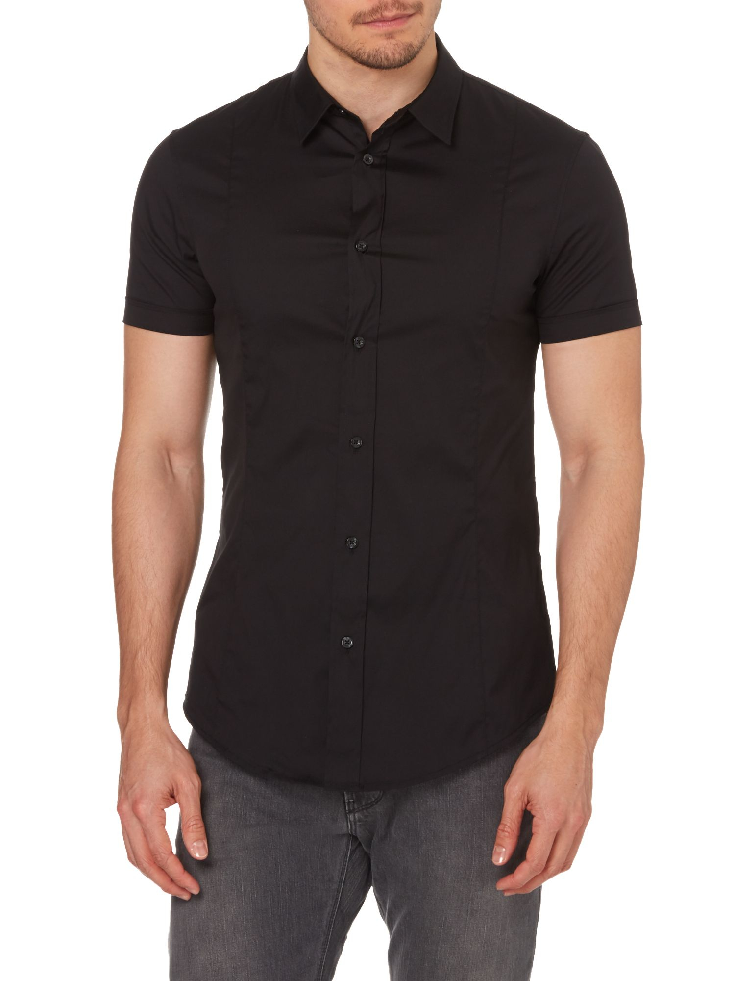 Mens Black Short Sleeve Shirt