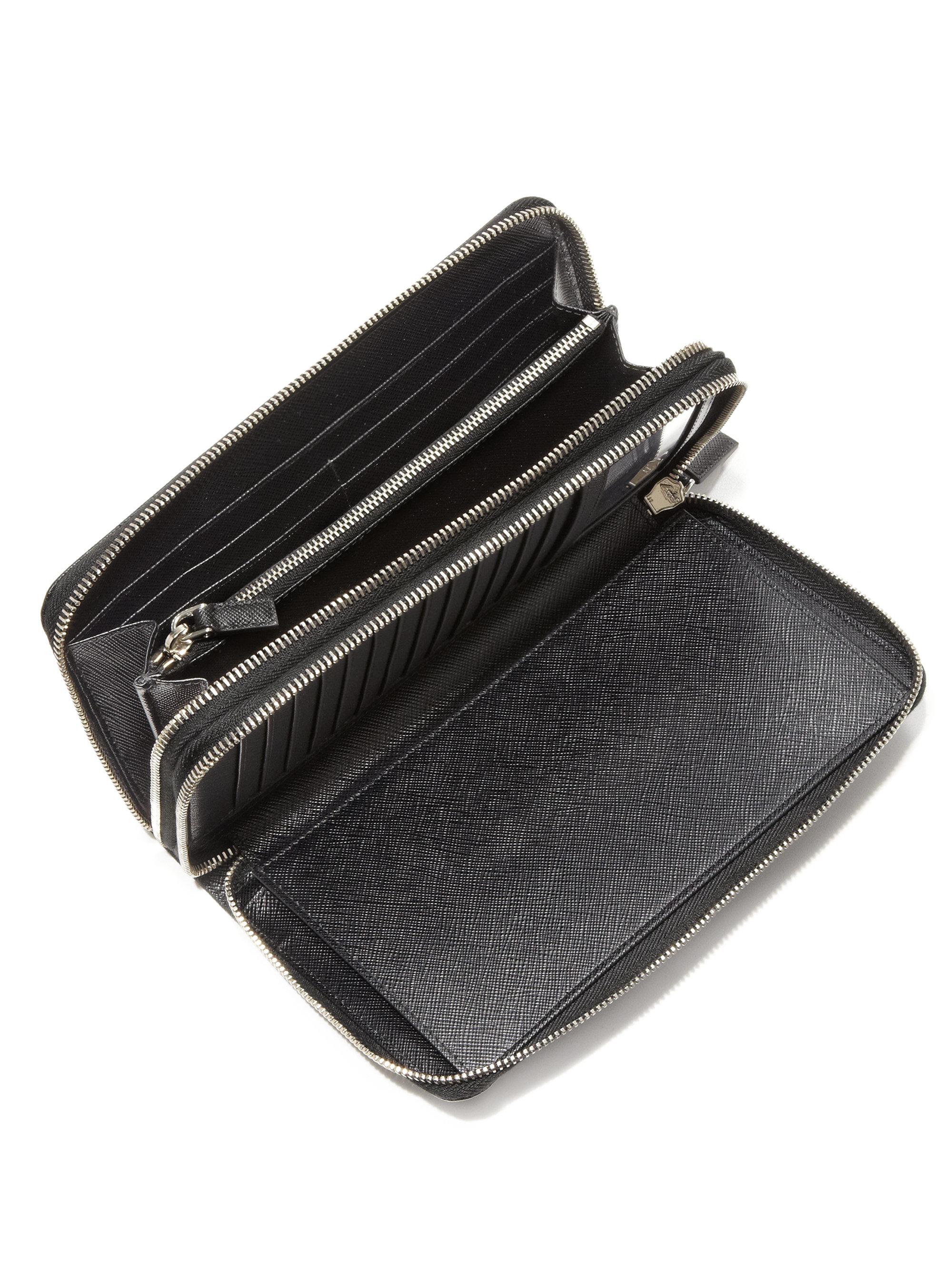 e186f274f0c6fe ... wholesale lyst prada portafoglio lampo wallet in black for men 4d734  7bb73