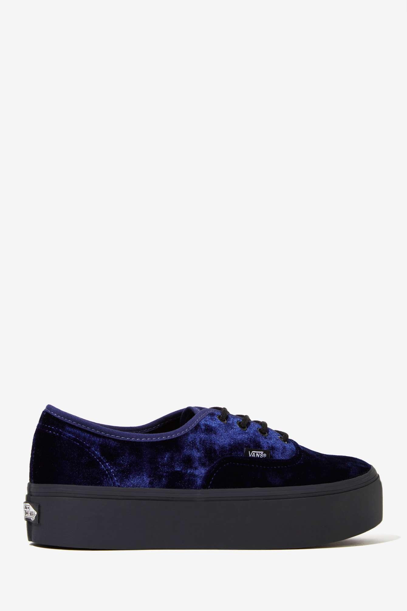 c6f98be65a Lyst - Nasty Gal Vans Authentic Platform Sneaker - Blue Velvet in Blue