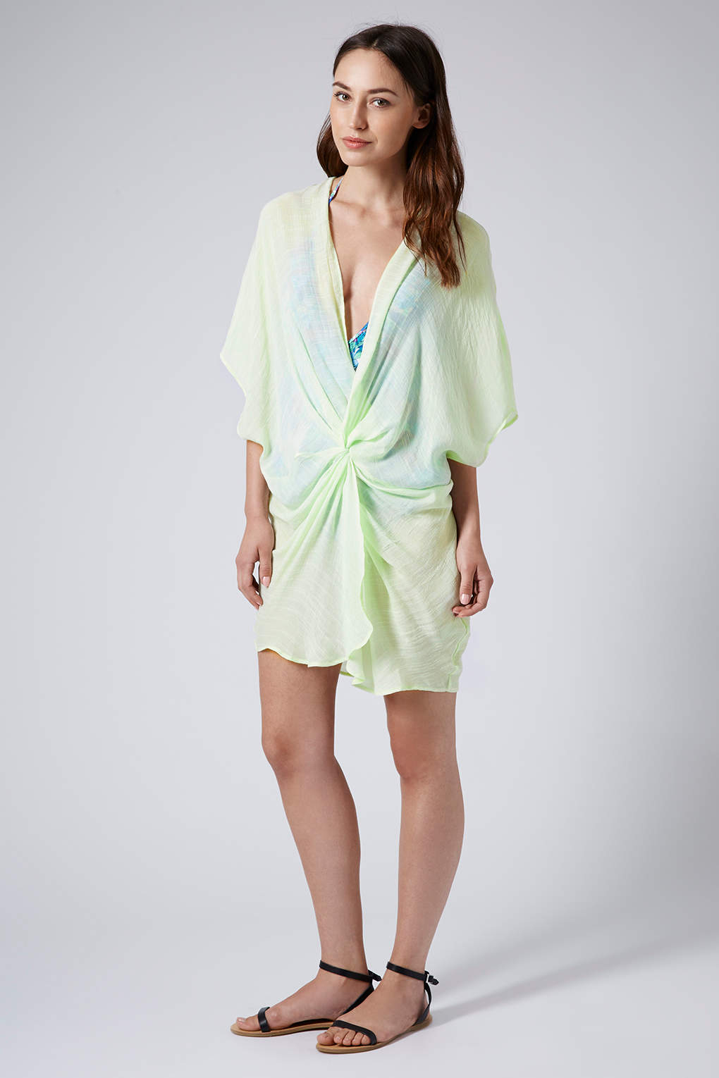Lyst topshop womens washed lime twist front tunic green for Womens denim shirts topshop