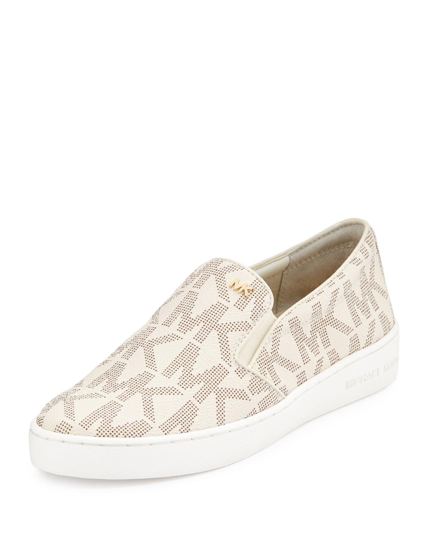 785ecc62ba40 Lyst - MICHAEL Michael Kors Keaton Logo-print Slip-on Sneaker in White