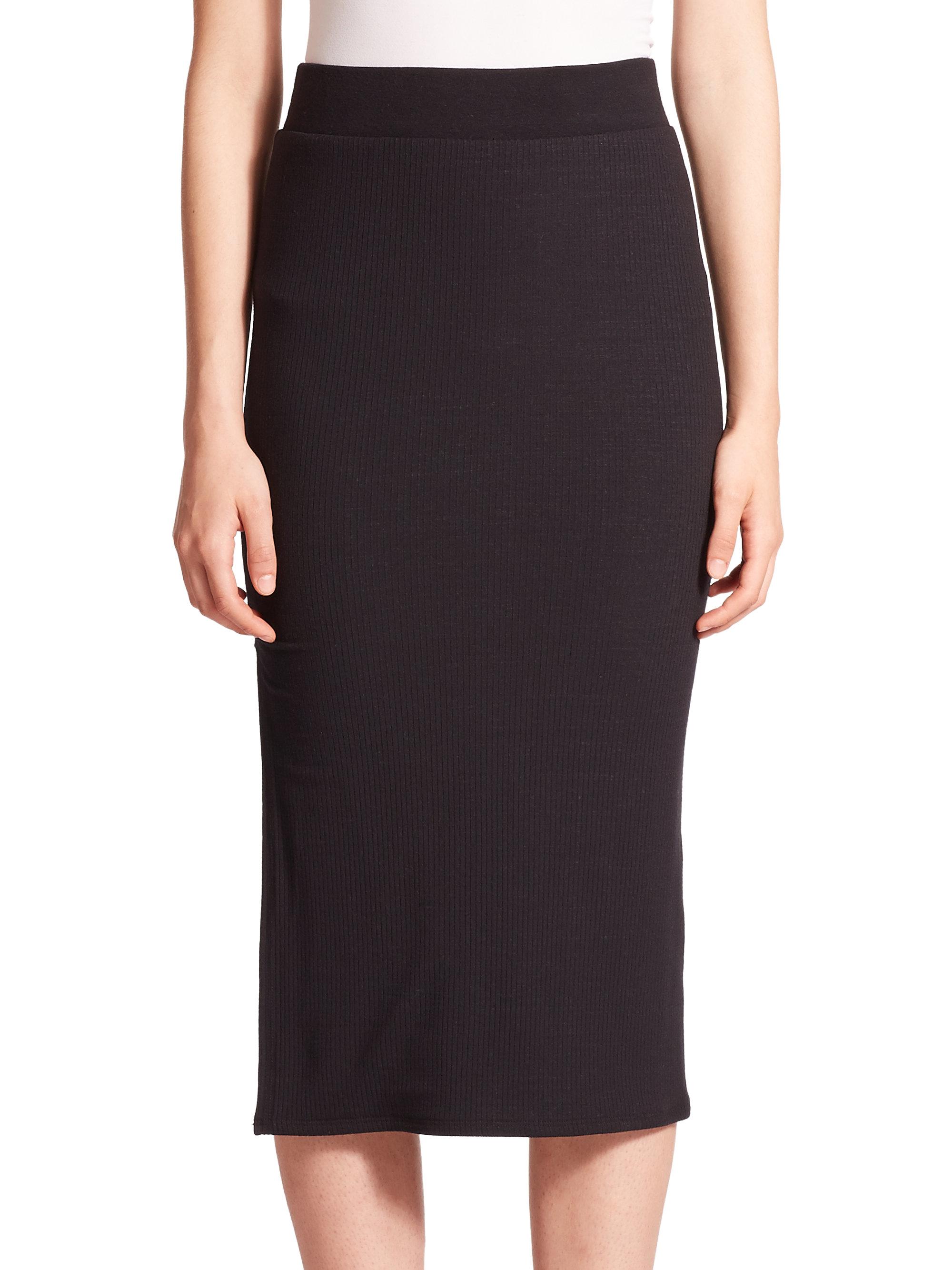 atm ribbed midi pencil skirt in black lyst