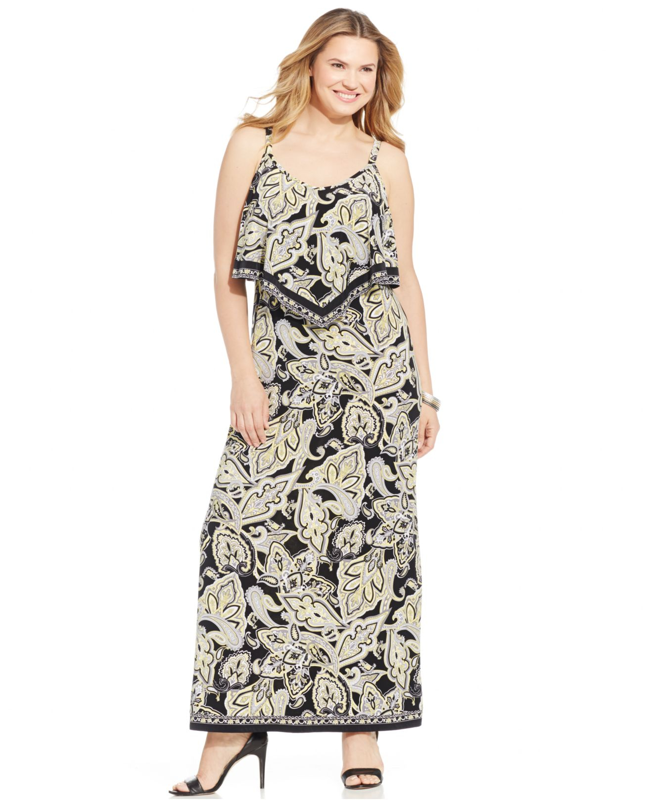 Inc international concepts Plus Size Printed Popover Maxi Dress in ...