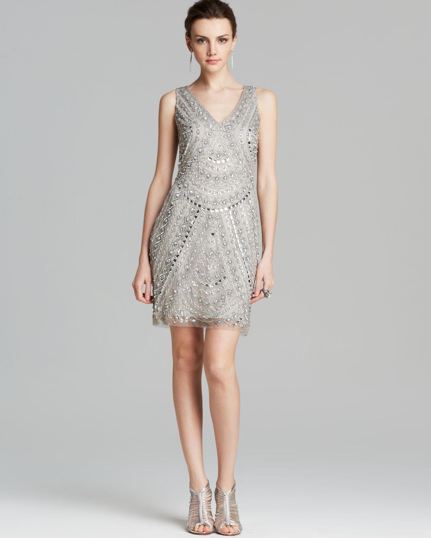 7c5128ab Aidan Mattox Dress Sleeveless V Neck Beaded in Metallic - Lyst
